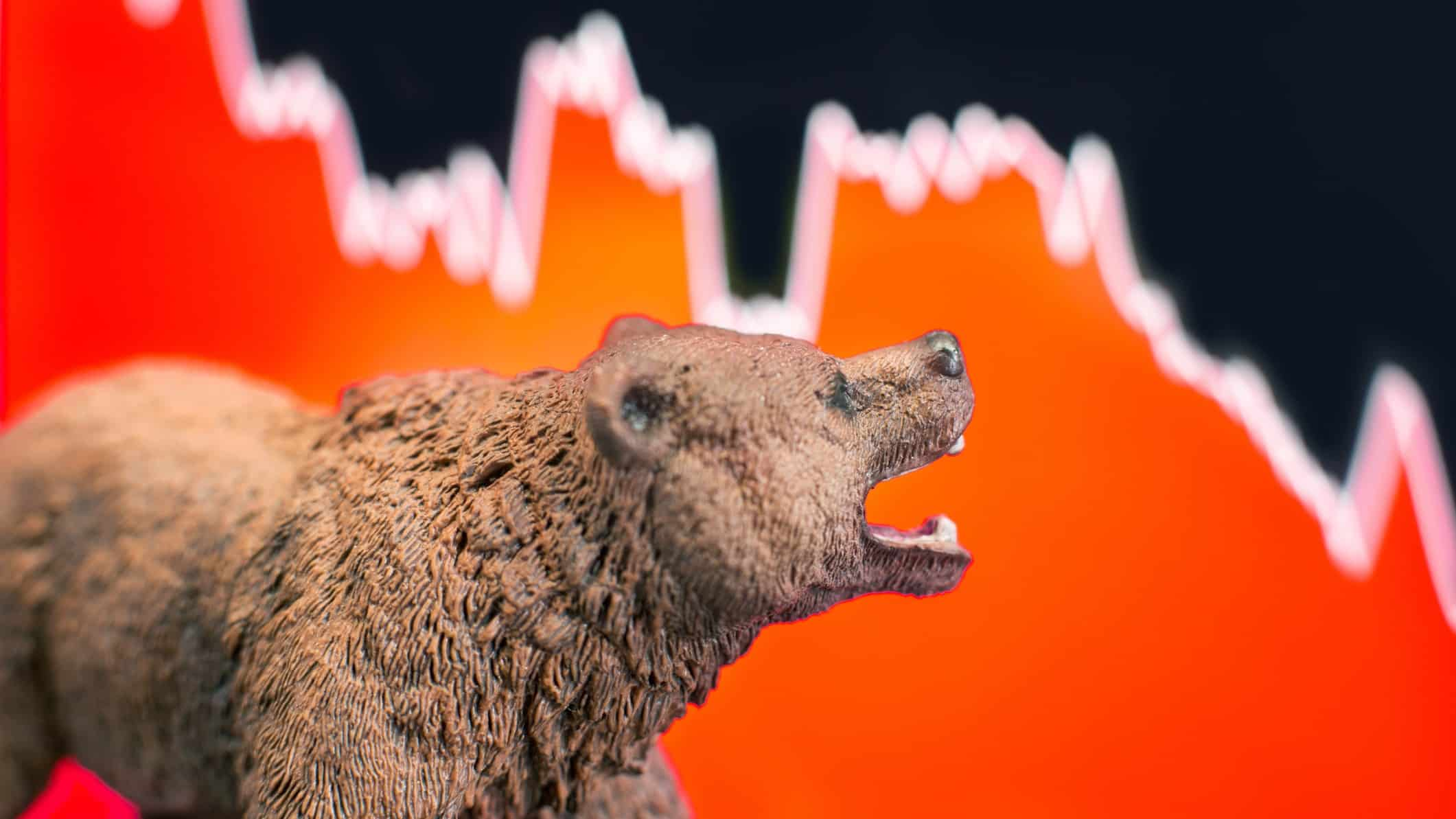 Model bear in front of falling line graph, cheap stocks, cheap ASX shares