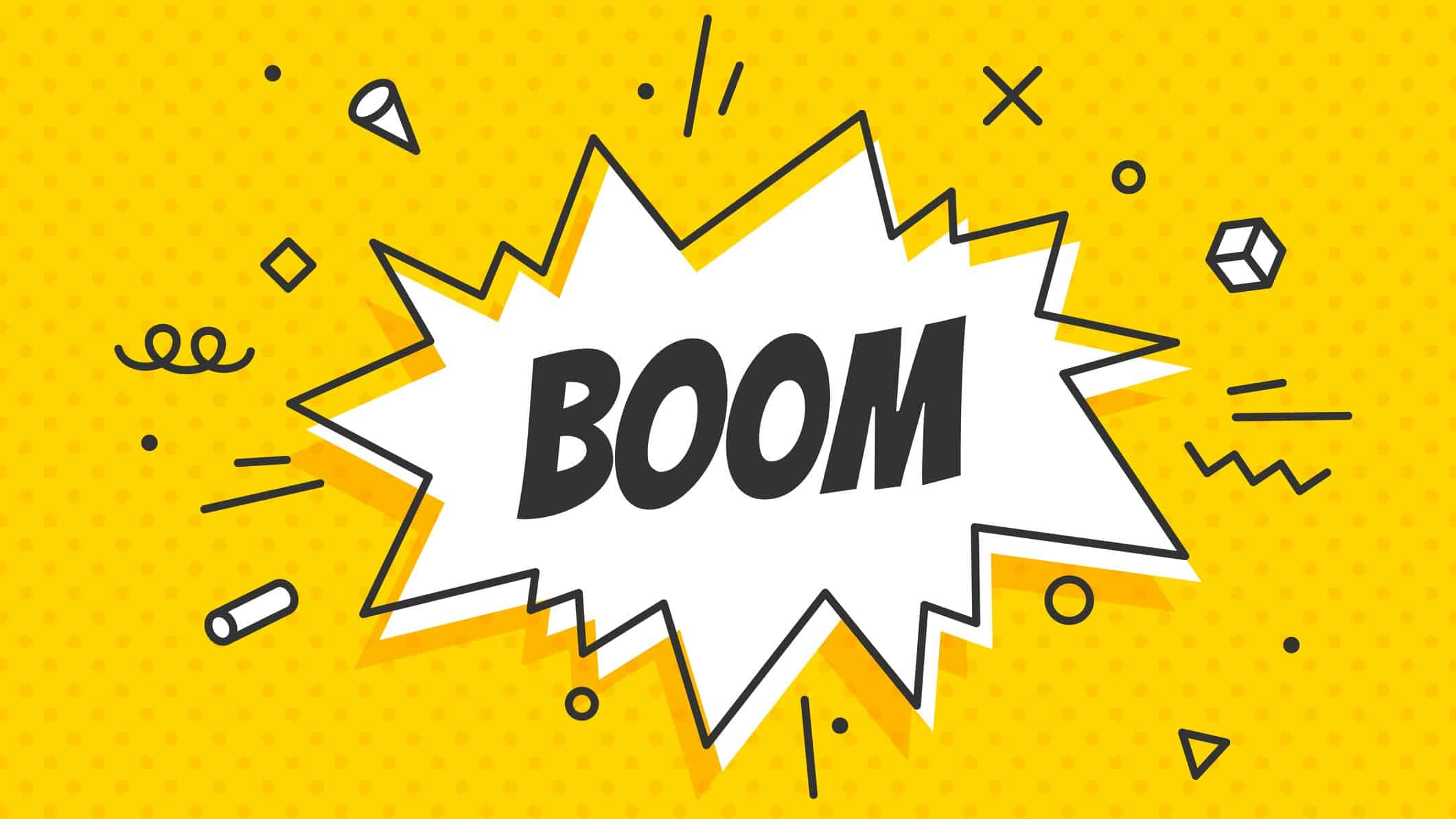 Surging ASX share price represented by the word BOOM written on bright yellow background