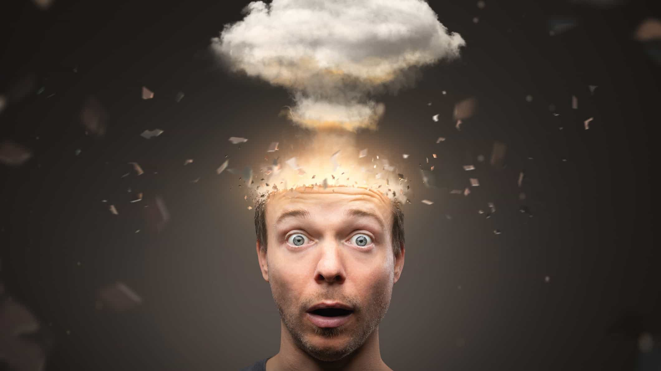 exploding asx share price represented by cloud coming out of man's brain