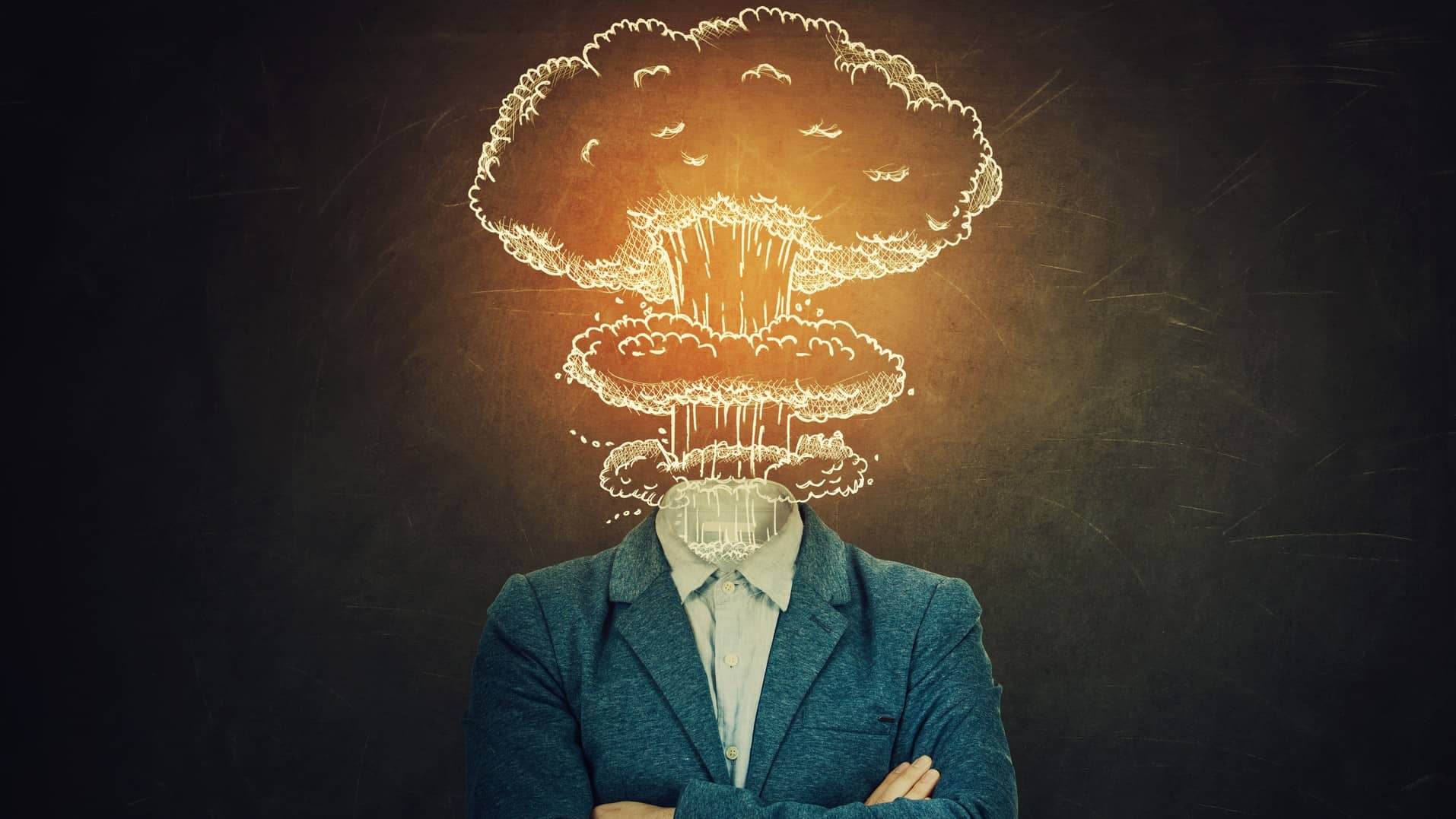 stylised image of exploding cloud coming out of neck of man's suit representing exploding Brainchip share price