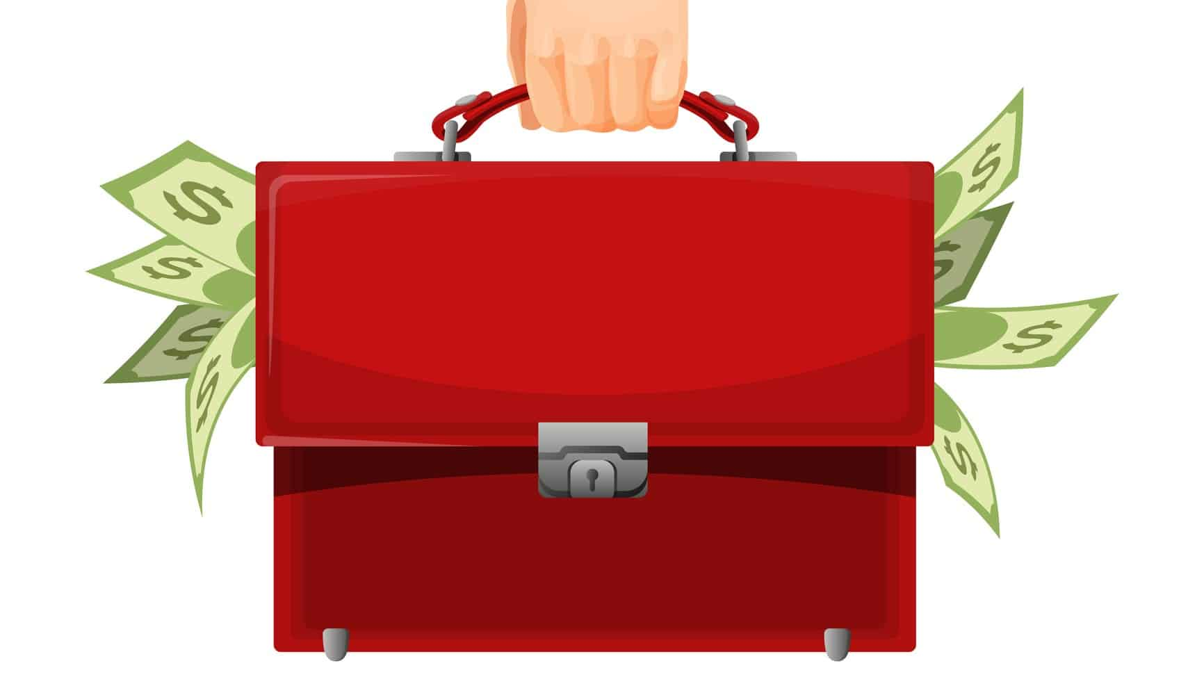 hand holding red briefcase stuffed with cash, investment portfolio