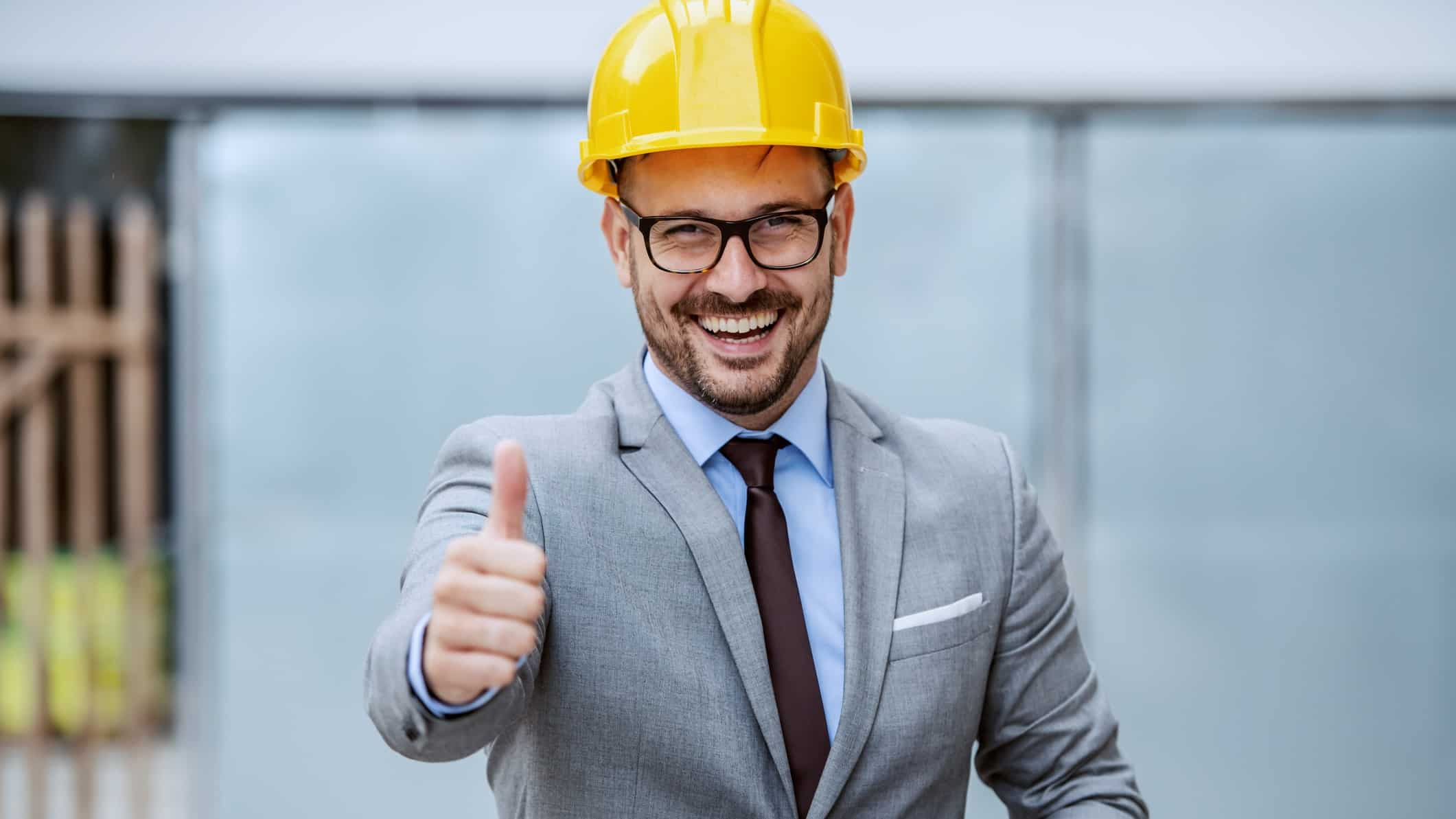 rising asx share price represented my man in hard hat giving thumbs up