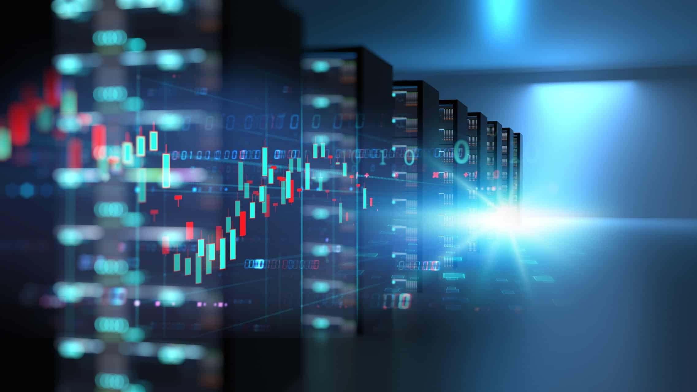 stock chart superimposed over image of data centre, asx 200 tech shares