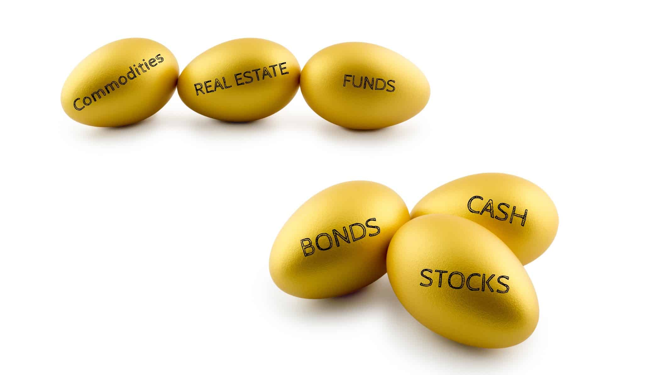 diversification for asx shares represented by golden eggs with different titles such as bonds, stocks, funds et cetera