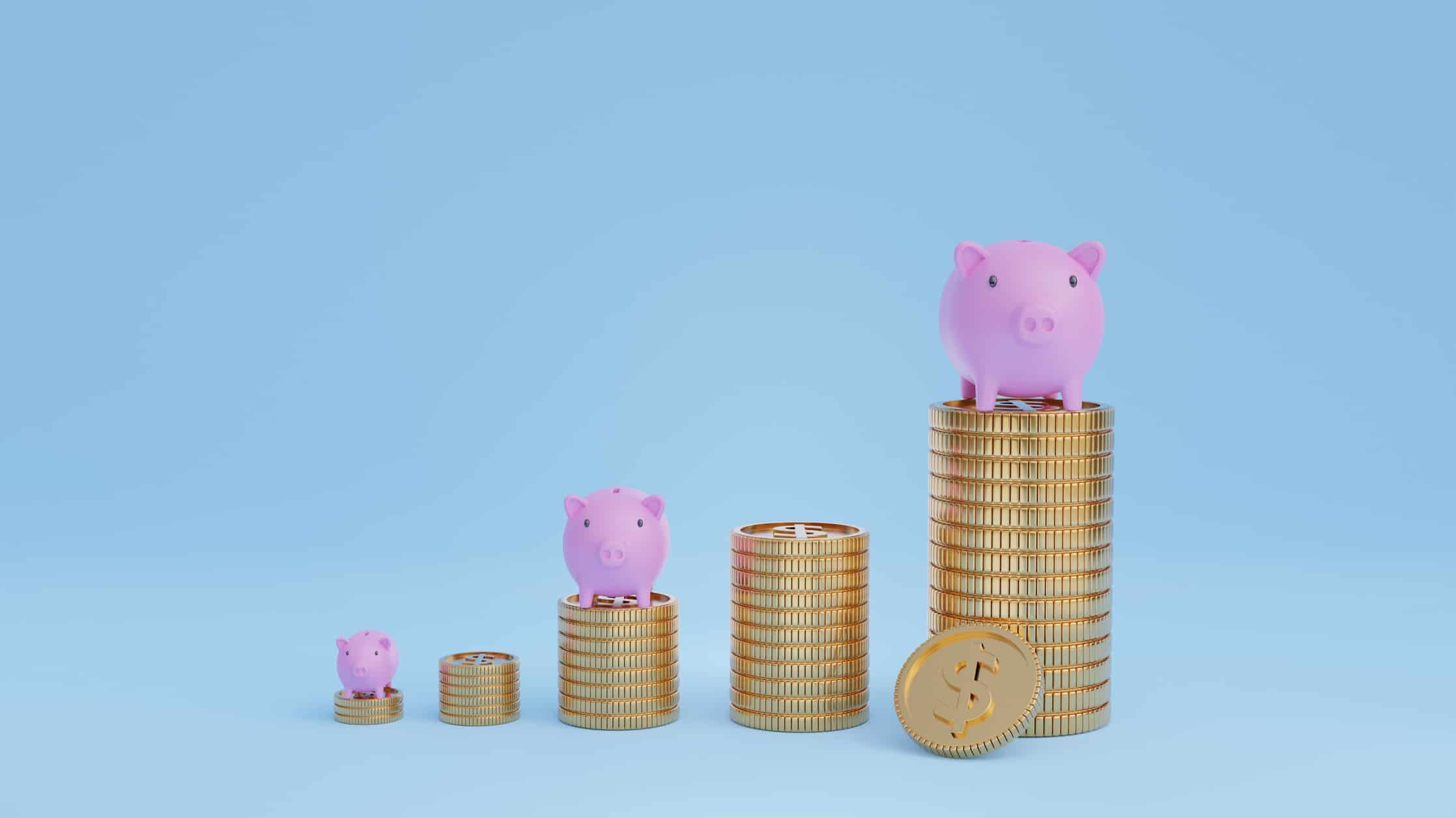 piles of coins increasing in height with miniature piggy banks on top