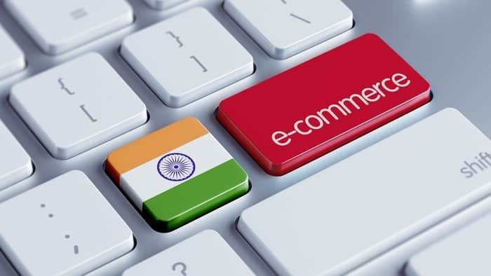 ecommerce in India represented by computer keyboard with indian flag and ecommerce buttons