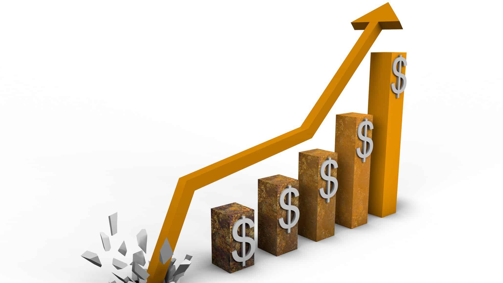arrow exploding over rising finance chart