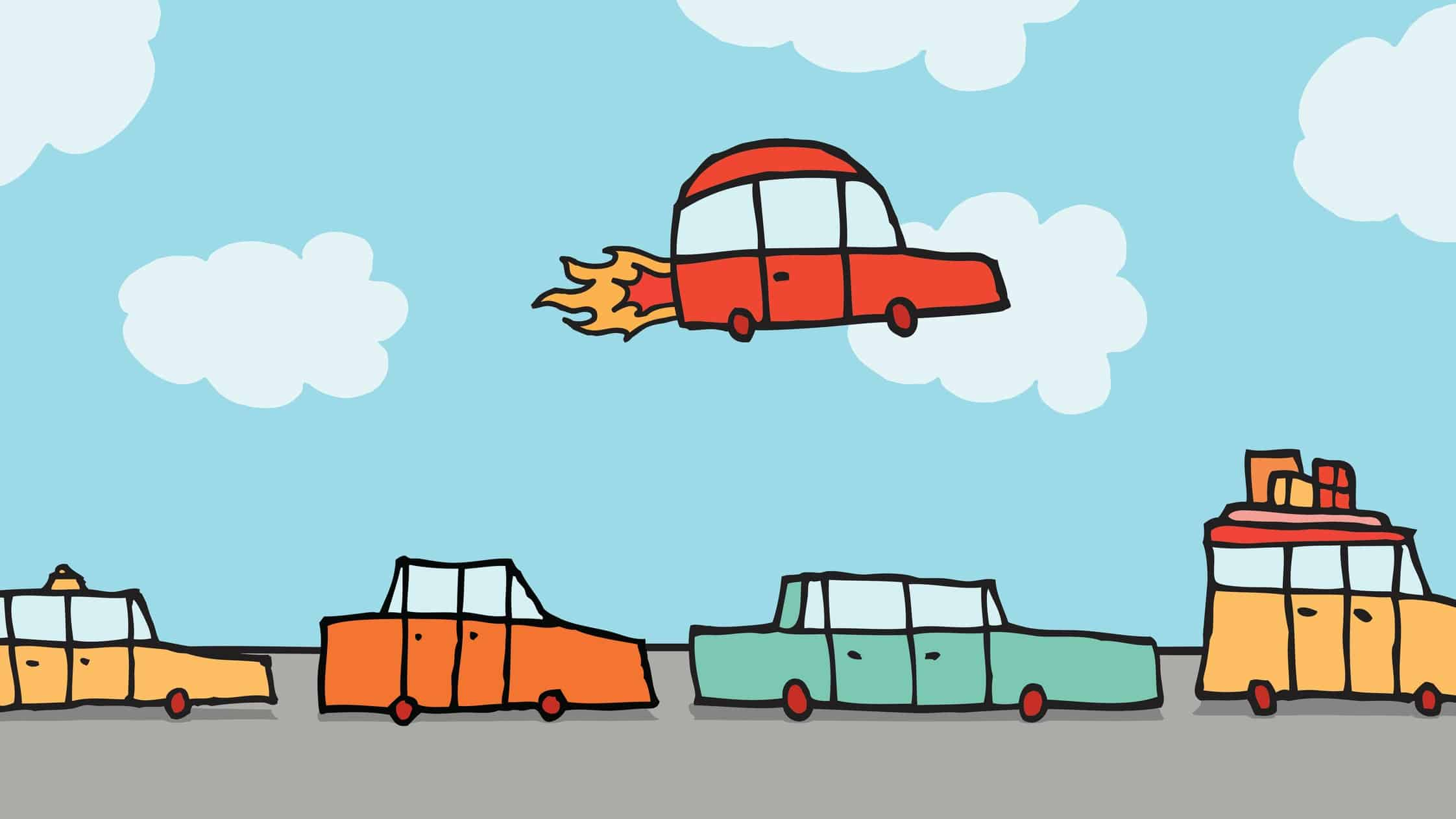 flying asx share price represented by cartoon car rocketing above all other cars on the road