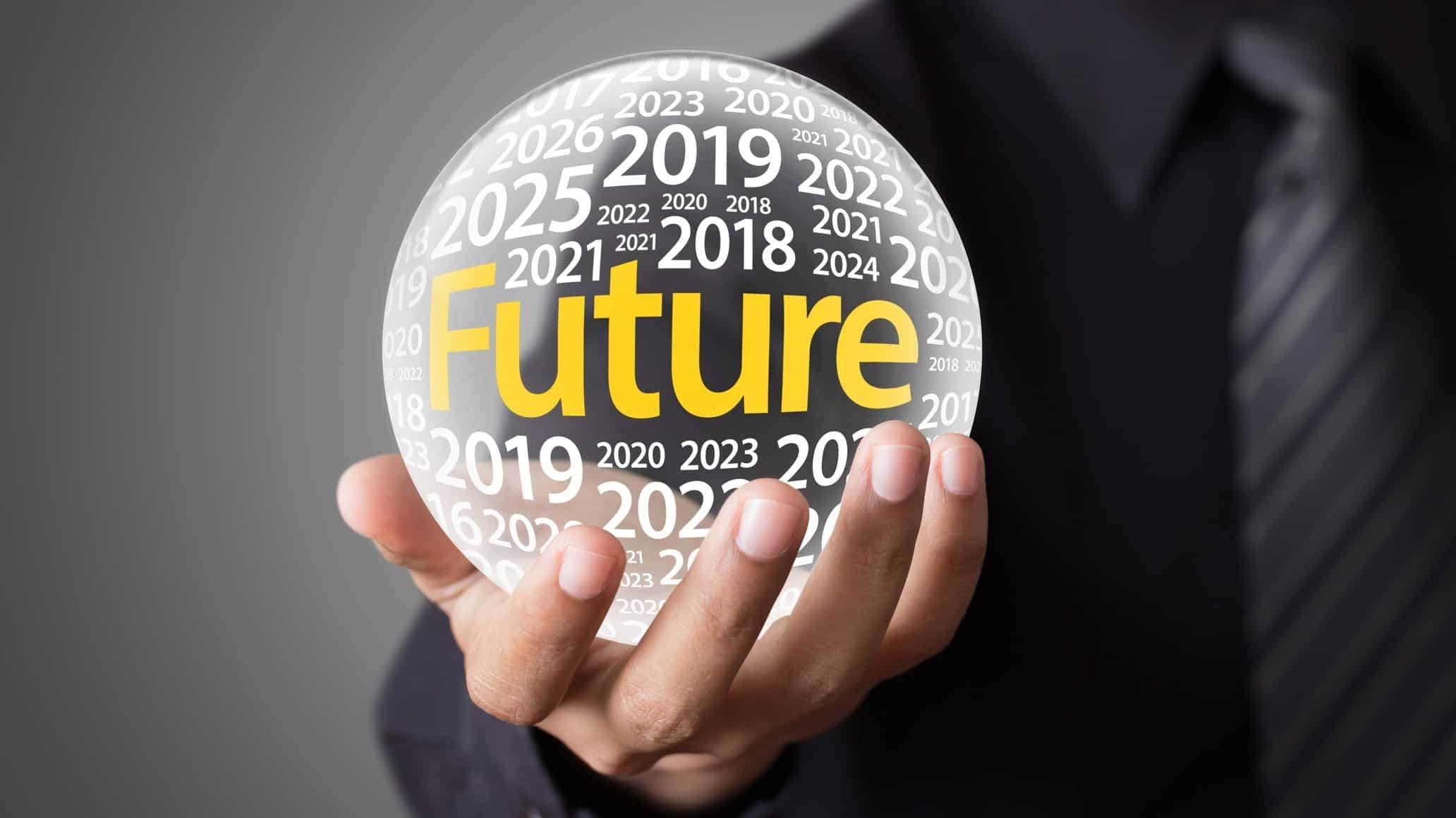 Business man holding a crystal ball containing the word future