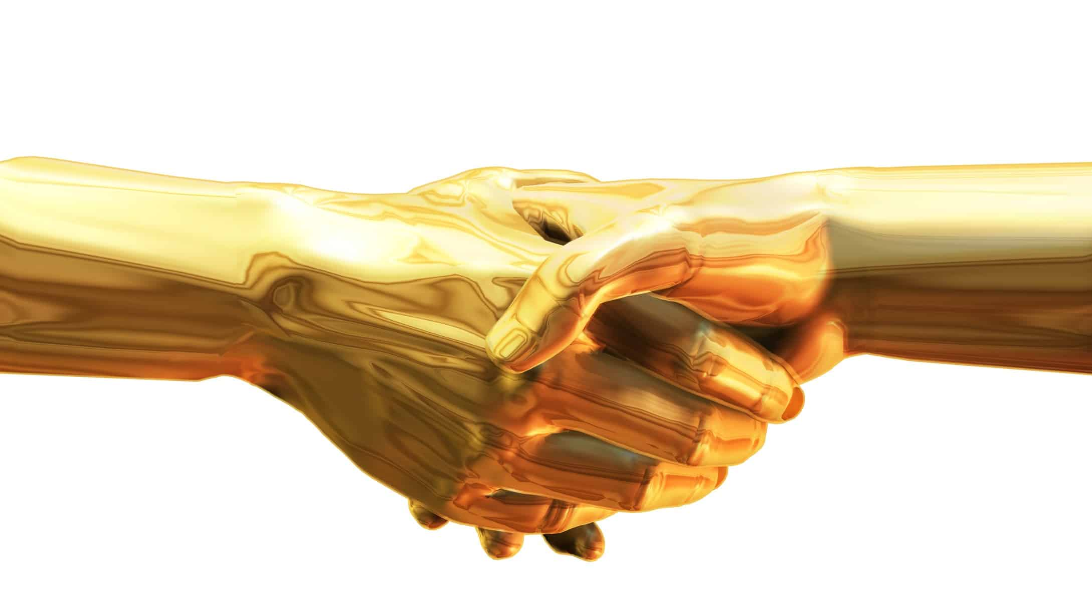 asx gold share merger represented by hand shake of two golden hands