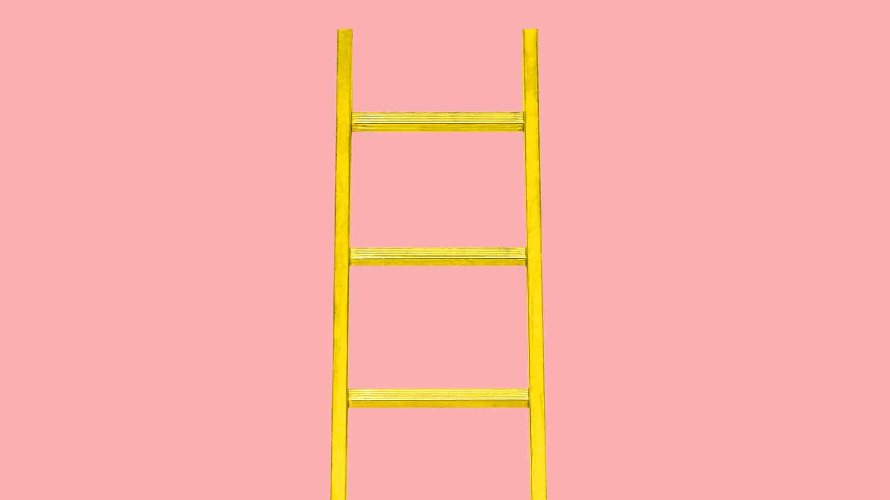 growth stocks represented by yellow ladder against pink background