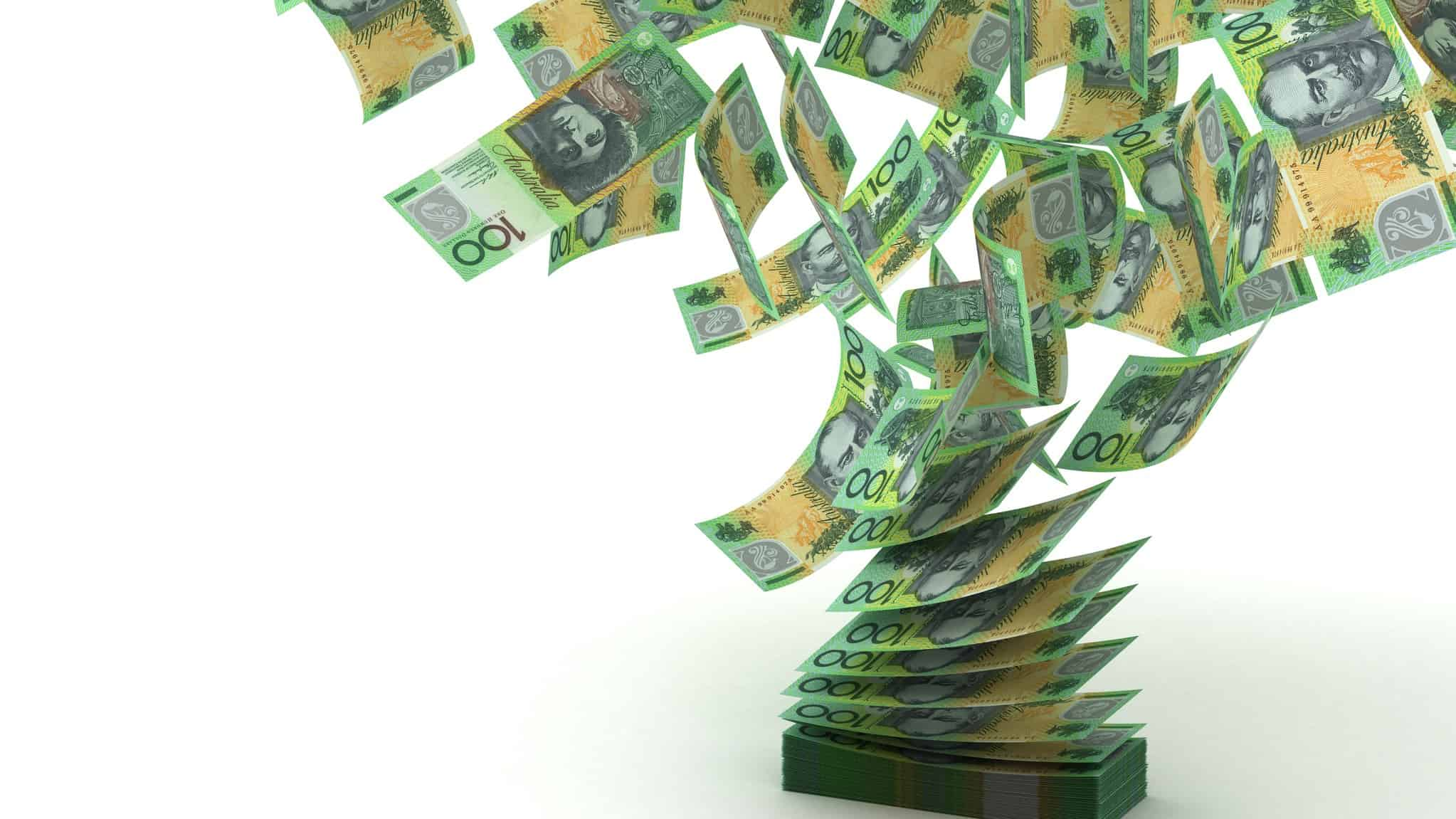 relaxing of australian lending rules represented by one hundred dollar notes flying freely through the air