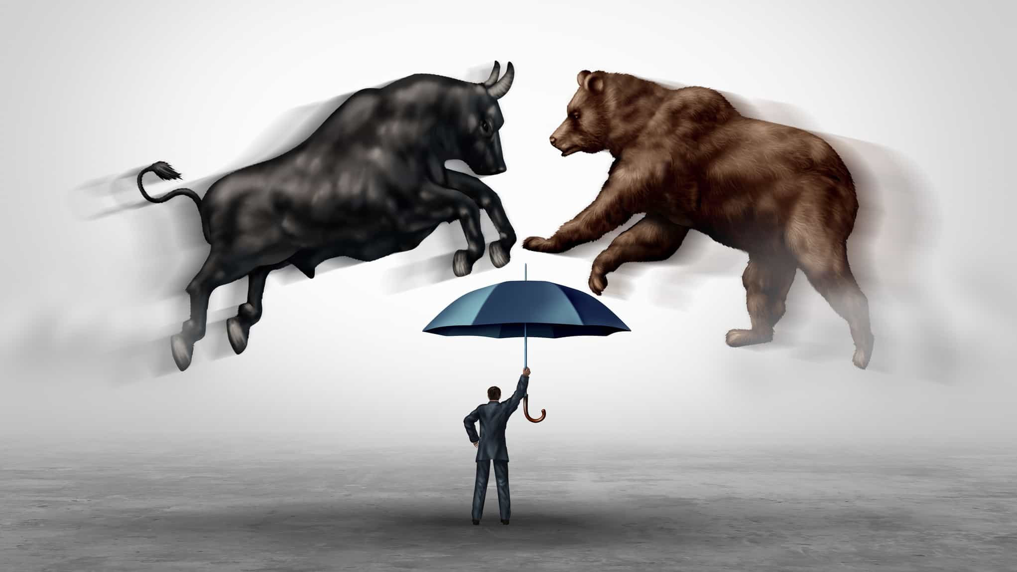 Bear and bull colliding over man holding an umbrella, asx 200 bull market