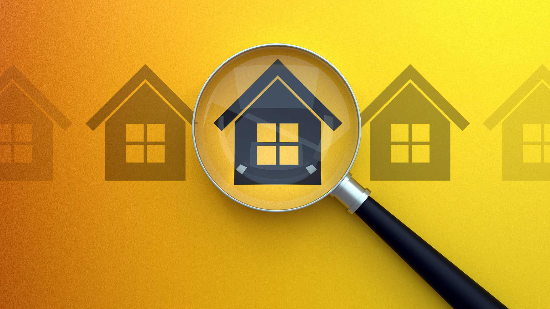 illustration of three houses with one under a magnifying glass signifying mcgrath share price on watch