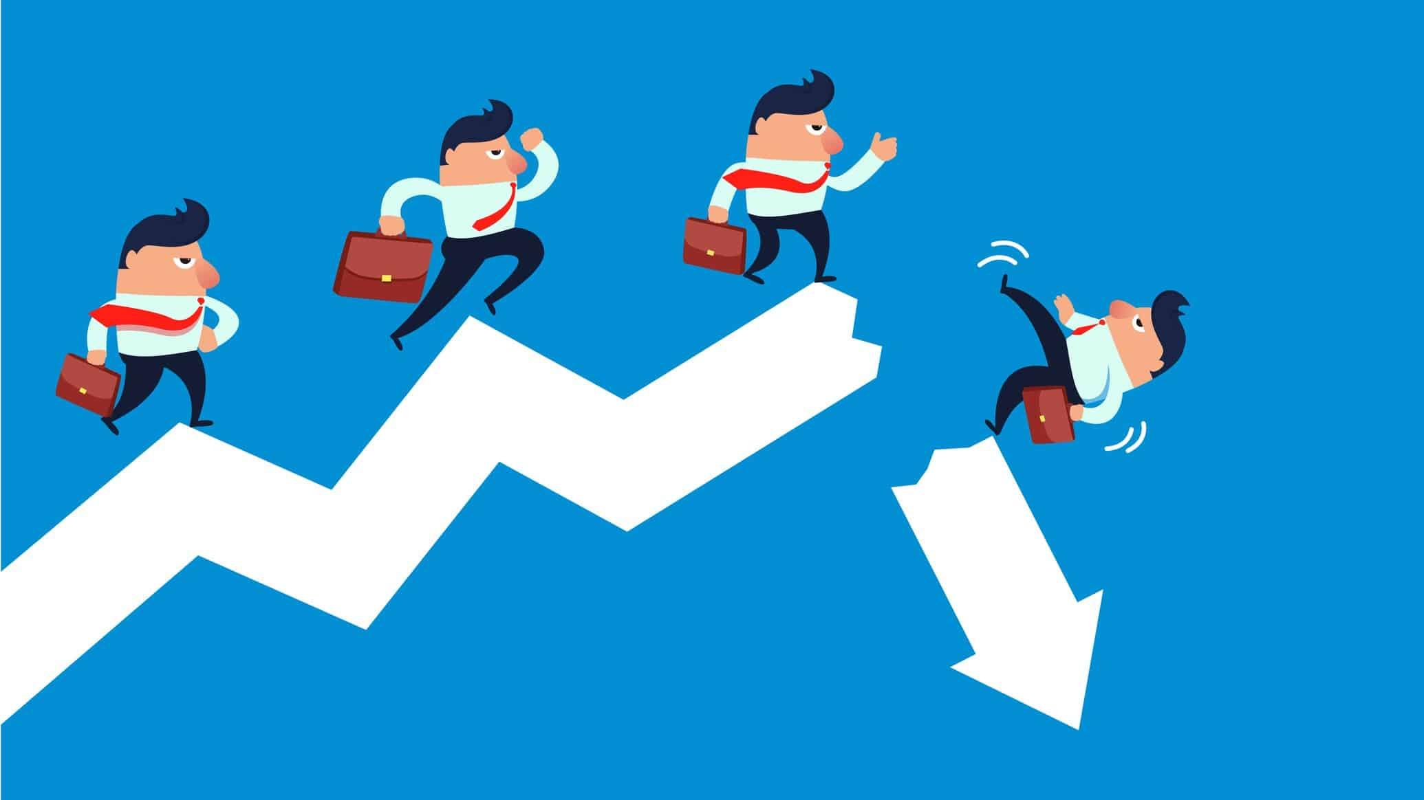 mesoblast share price falling represented by cartoon of little business men falling off broken graph arrow
