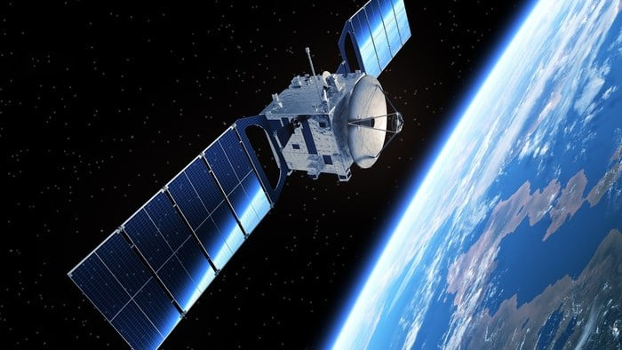 high tech computing space satellite pictured floating above earth in space