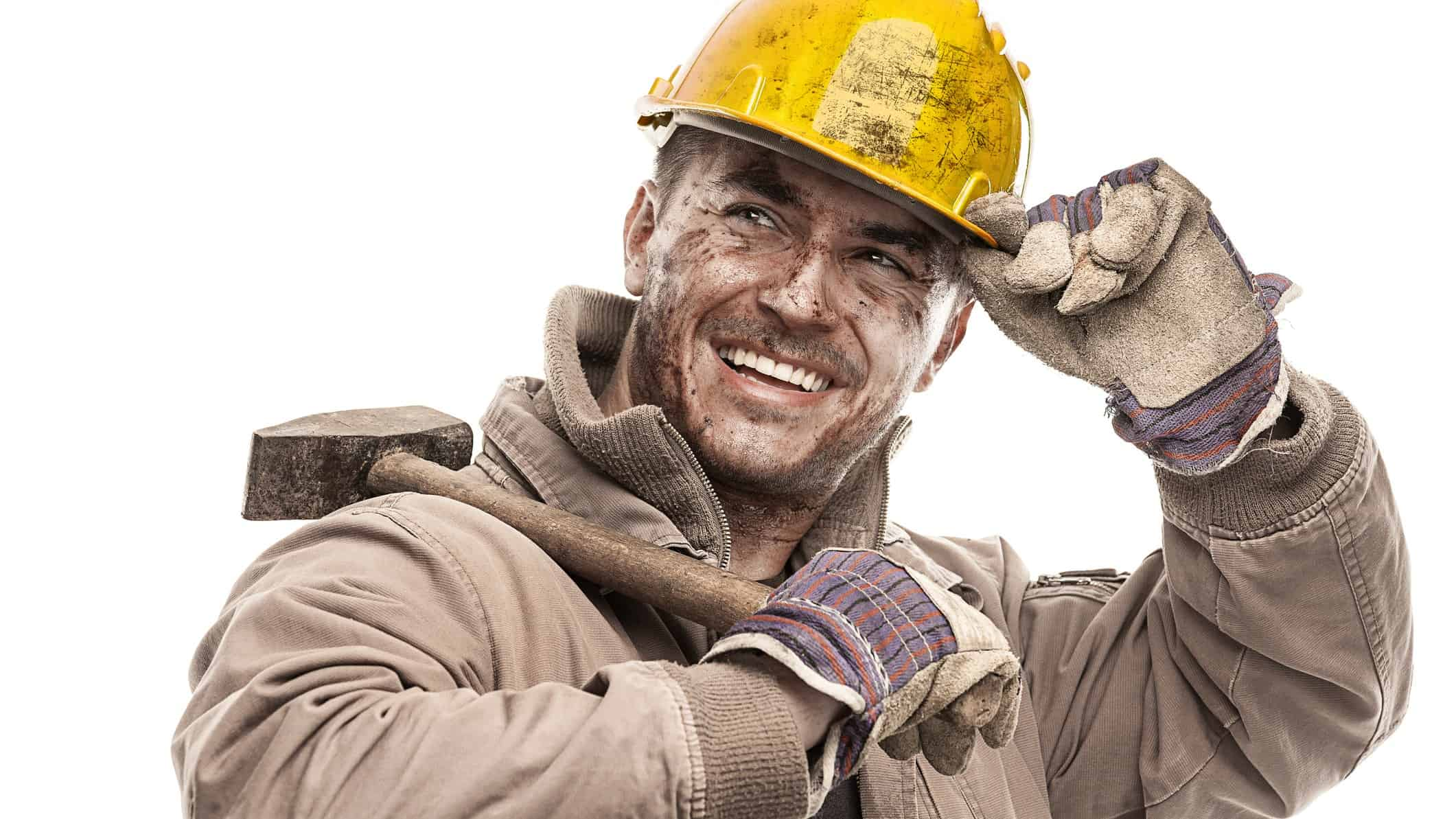 A happy miner tips his hard hat, indicating good ashare price results for ASX mining stocks