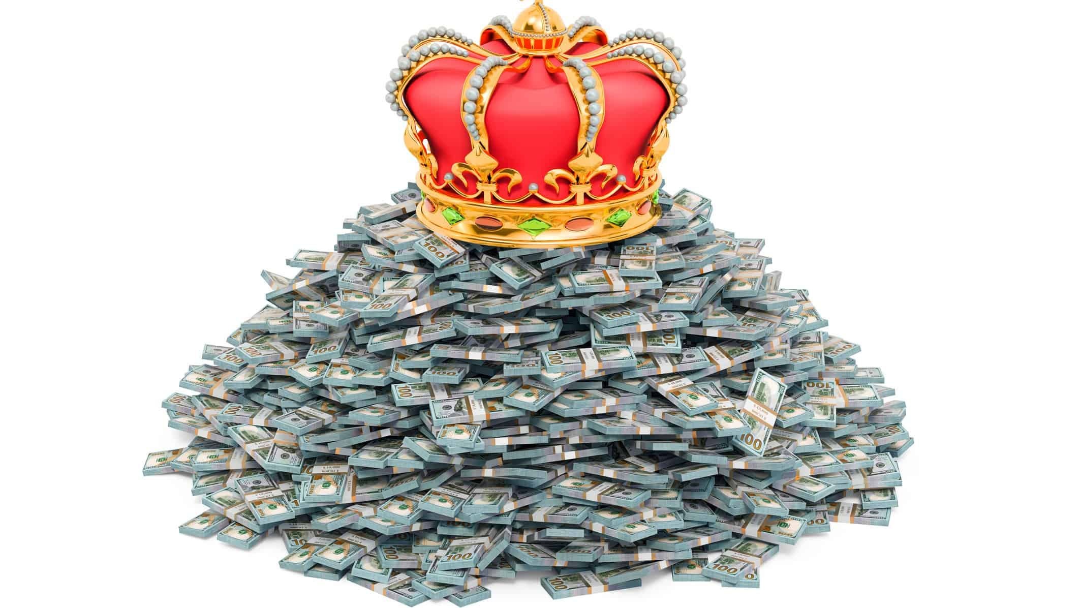 A crown sits on a pile of money, indicating the richest people