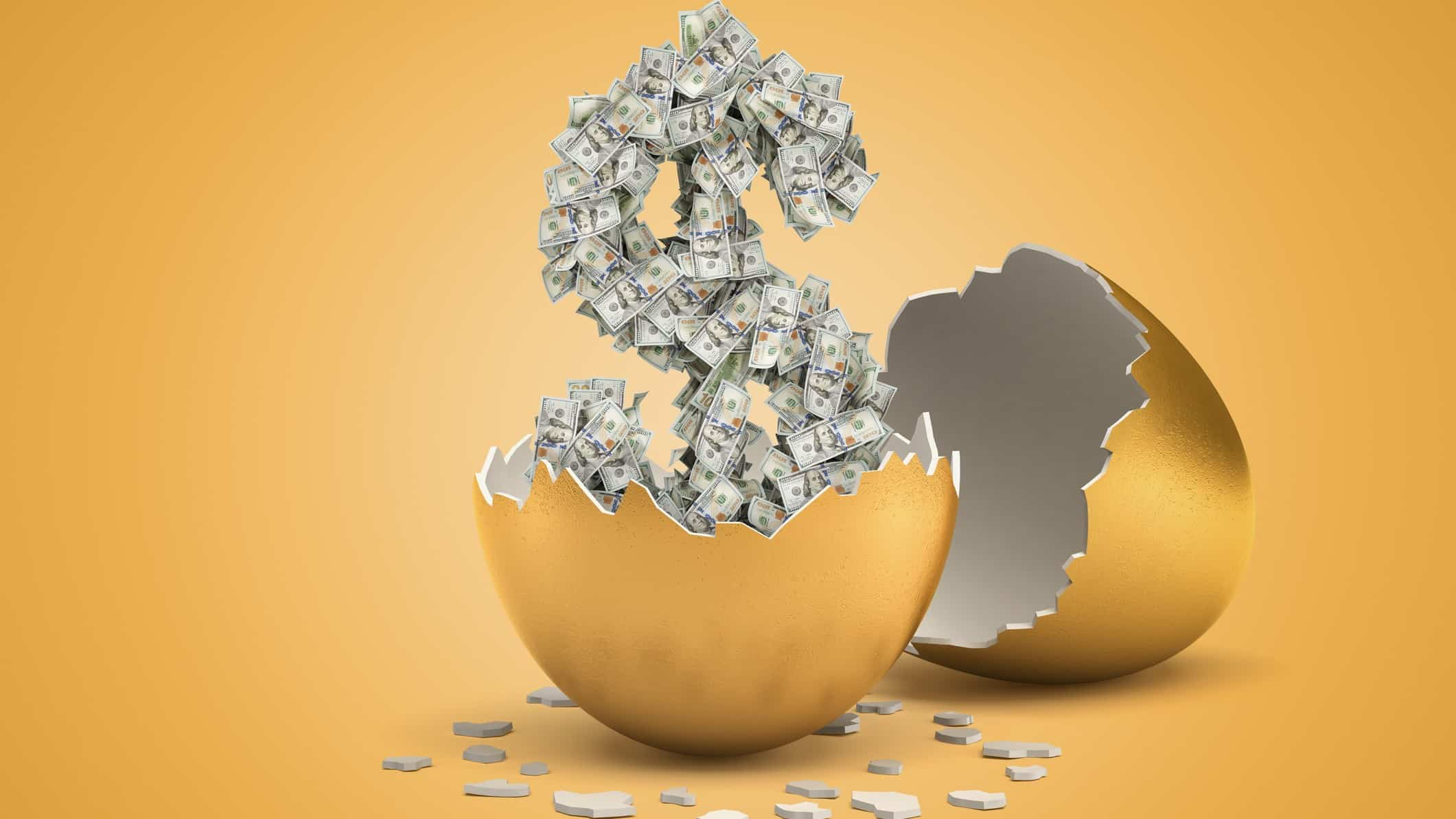 new tech shares represented by US dollars hatching out of golden egg