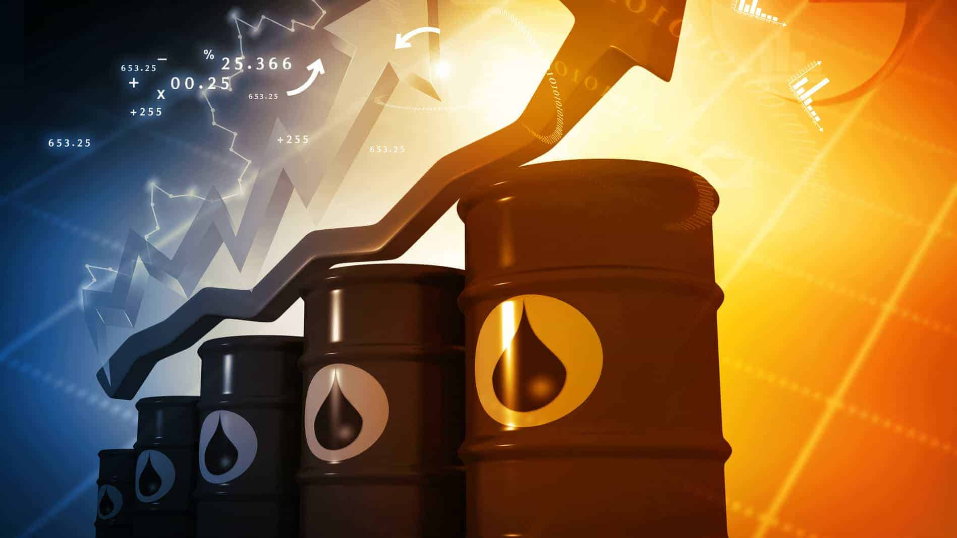 Barrels of oil with rising arrow, oil price increase