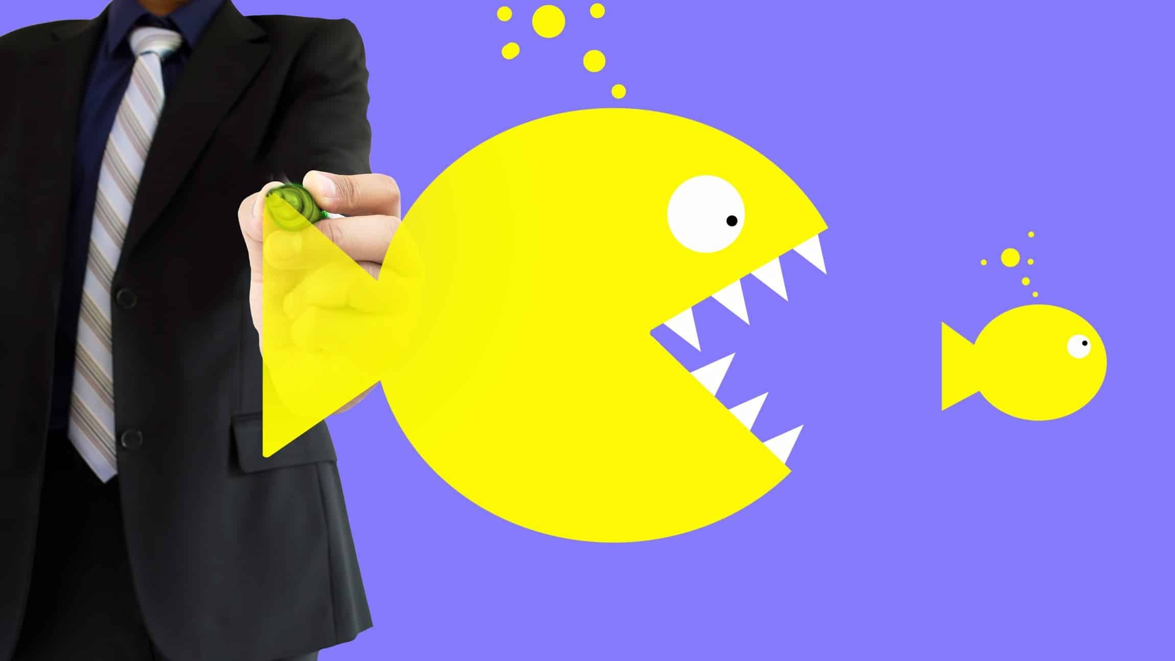 asx 200 share takeover represented by man drawing illustration of big fish eating little fish
