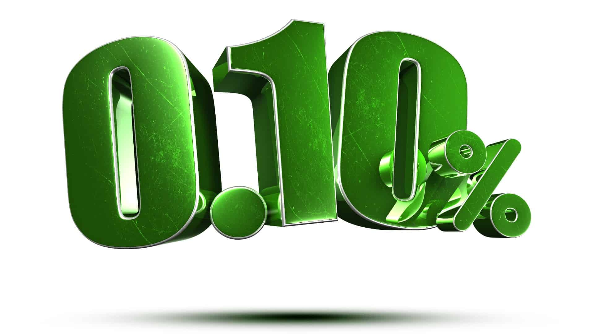 RBA interest rate represented by big green digits 0.10 percent