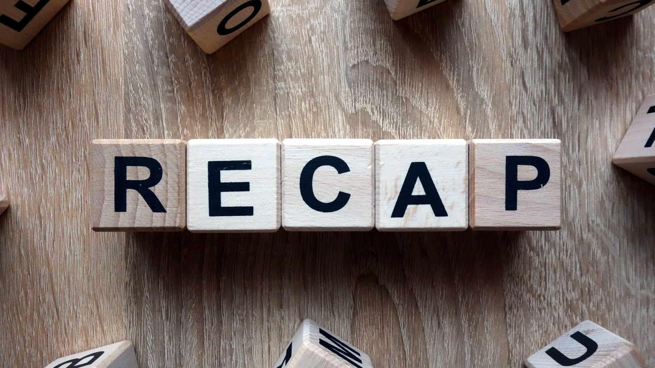 Wooden block letters spelling out 'recap', ASX 200