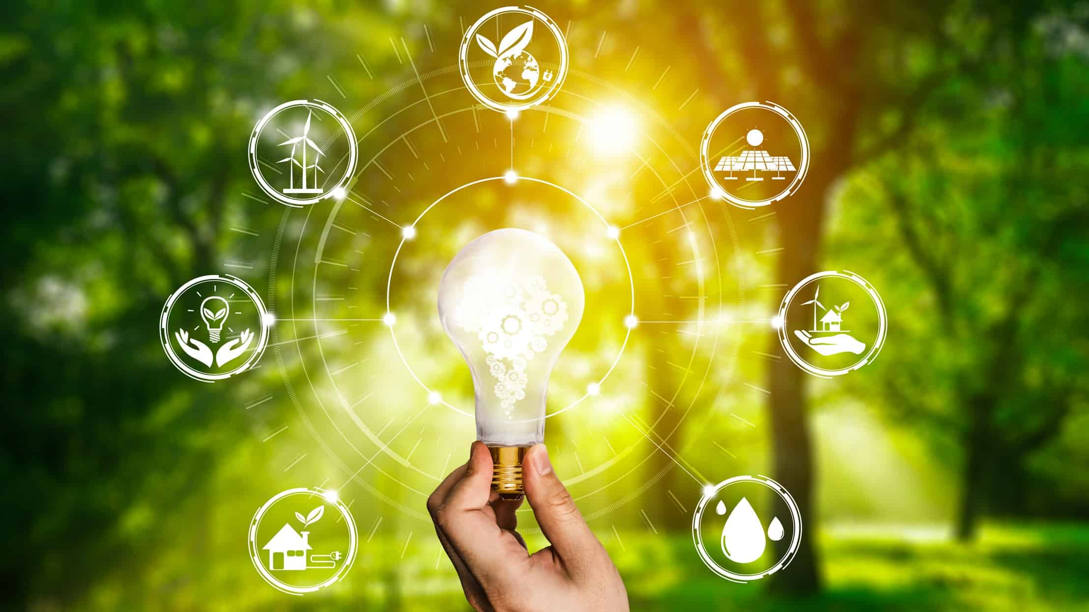 asx renewable energy shares represented by light bulb surrounded by green energy icons