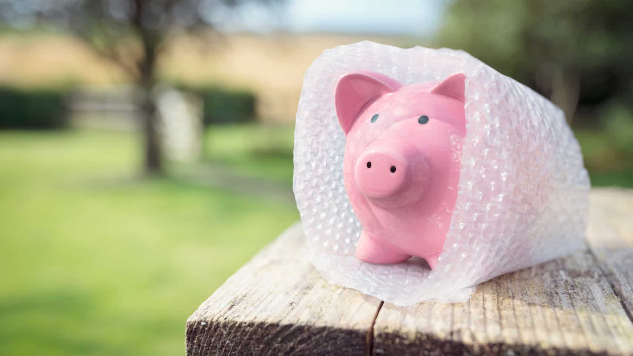 safe dividend yield represented by a piggy bank wrapped in bubble wrap