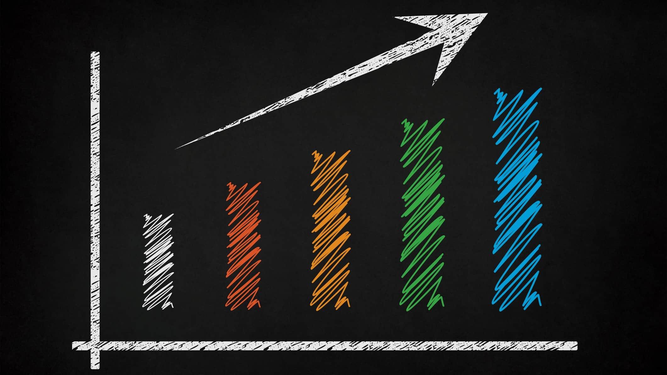 colourful chalk drawing on blackboard of increasing asx share price bar graph