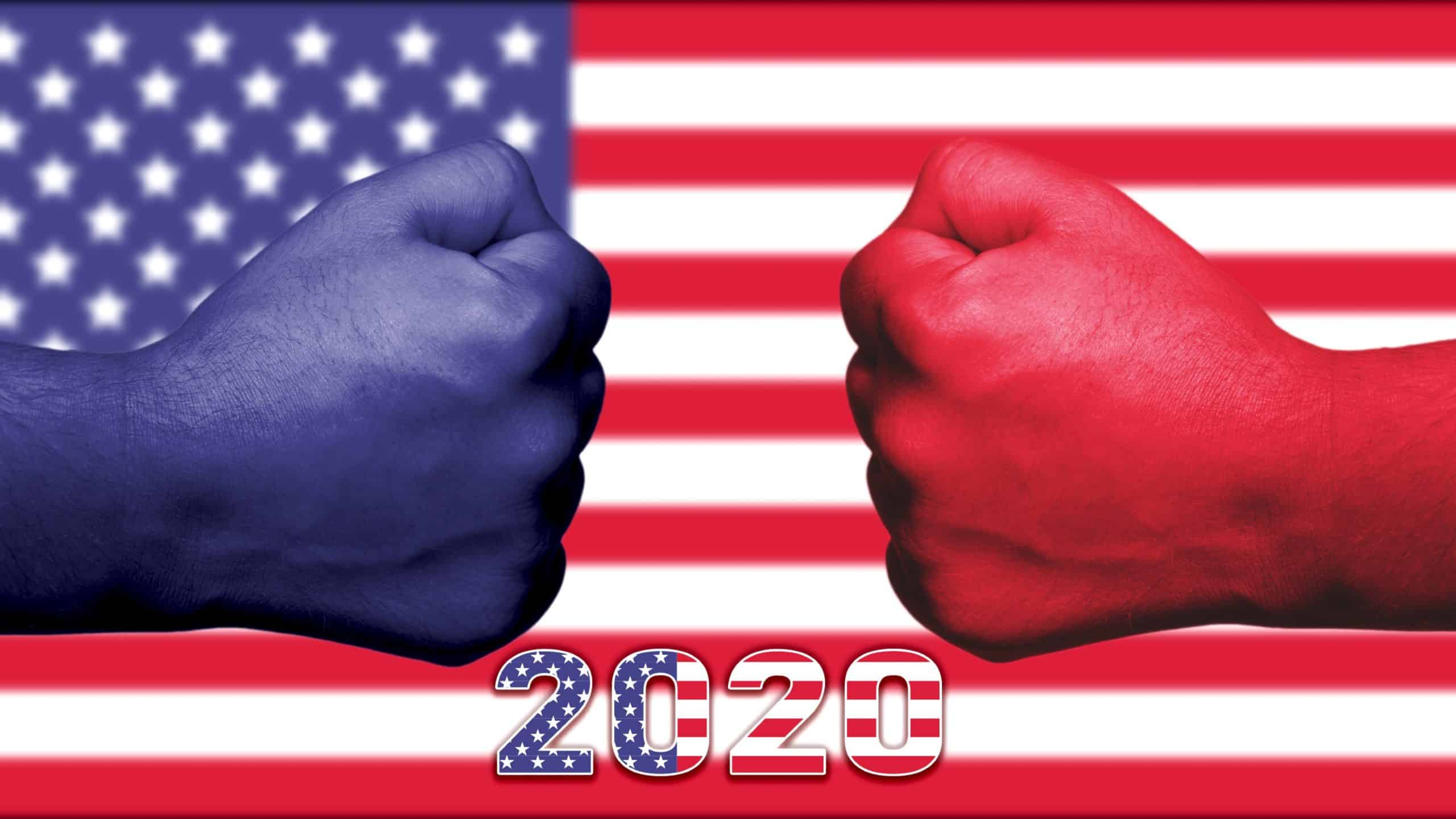 shares to buy in US election represented by blue and red fists coming together against backdrop of US flag