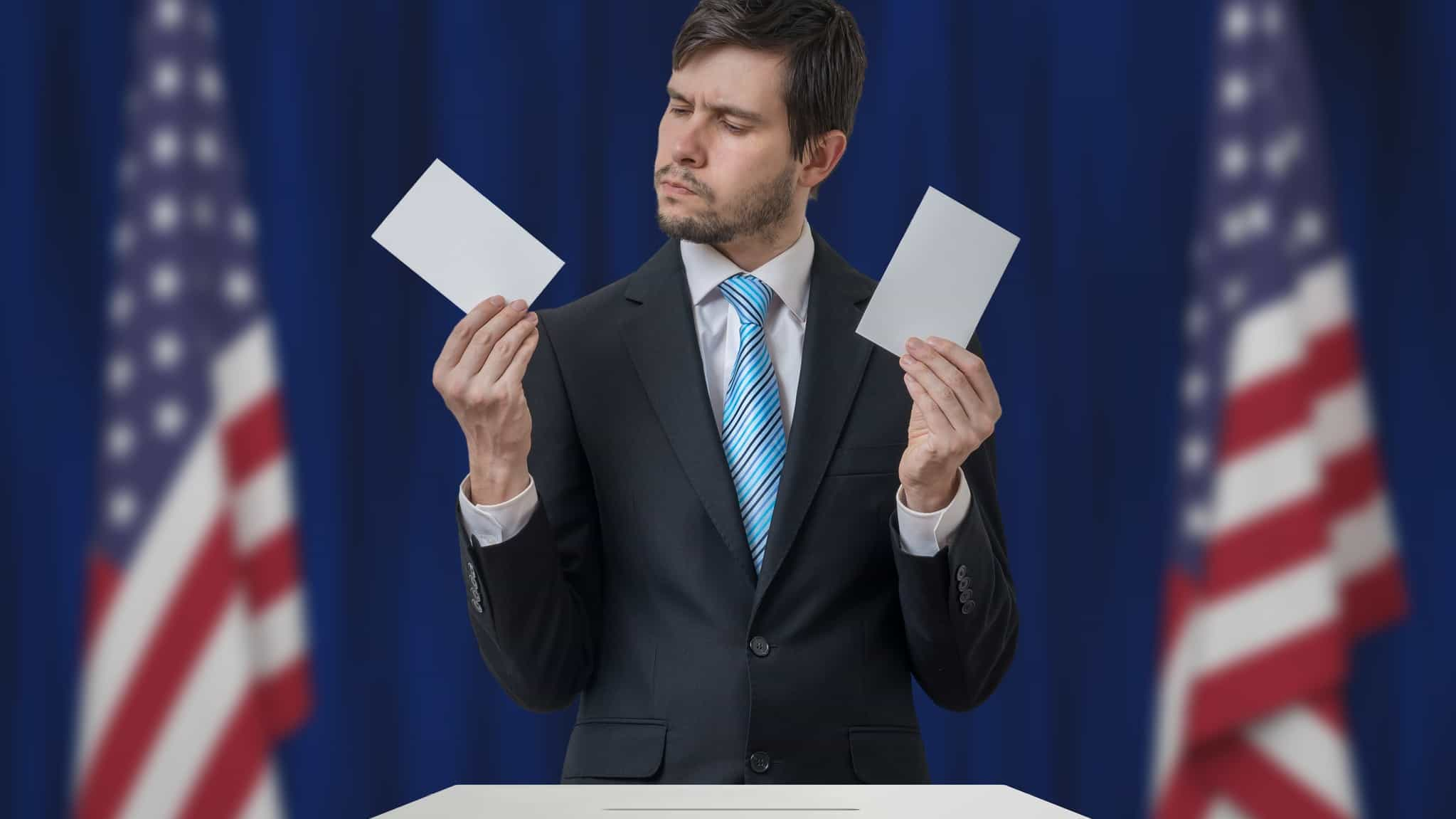 which shares to buy for US election represented by voter looking confused holding card in each hand
