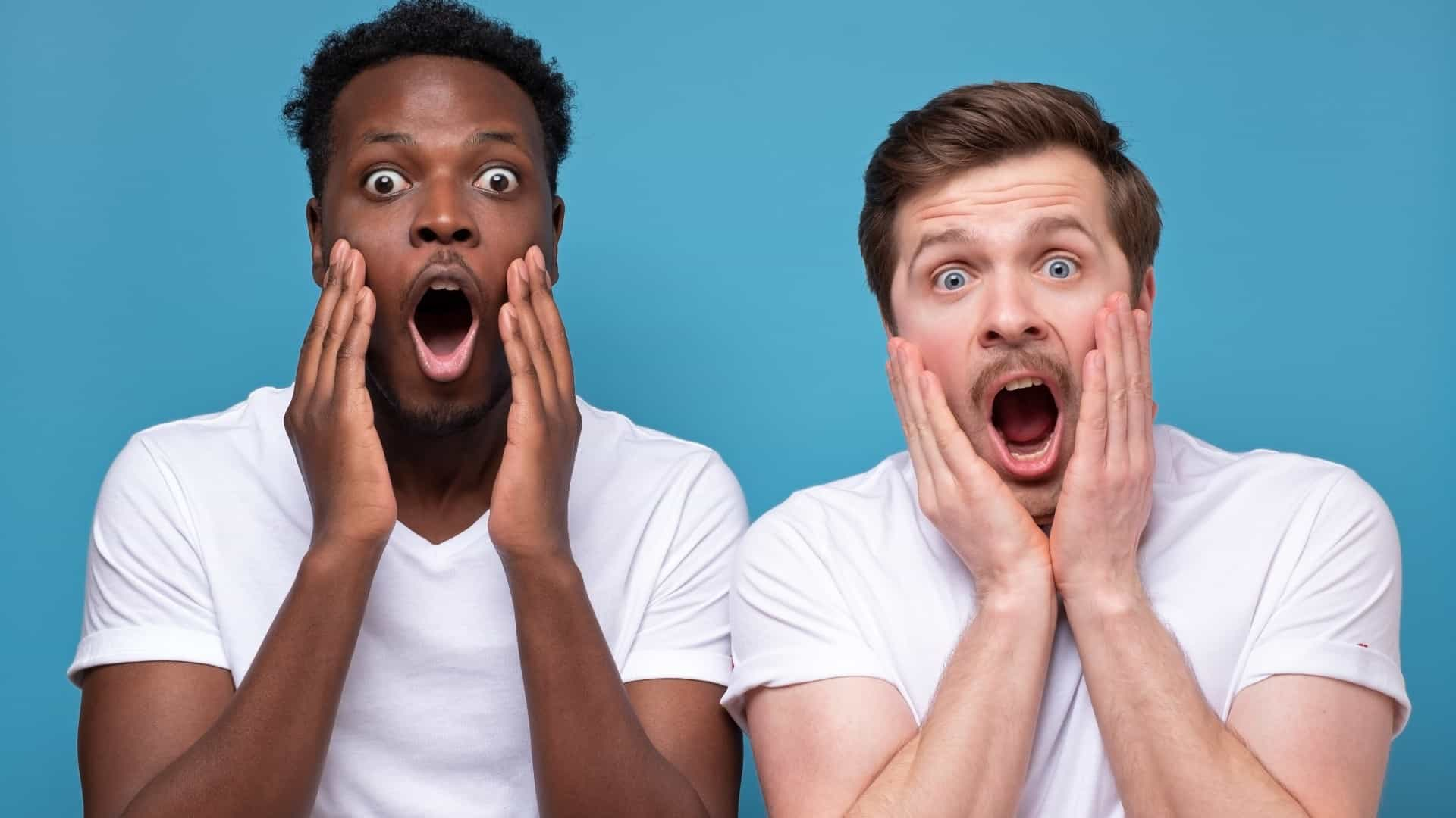 Two men react in shock at Iluka share price drop