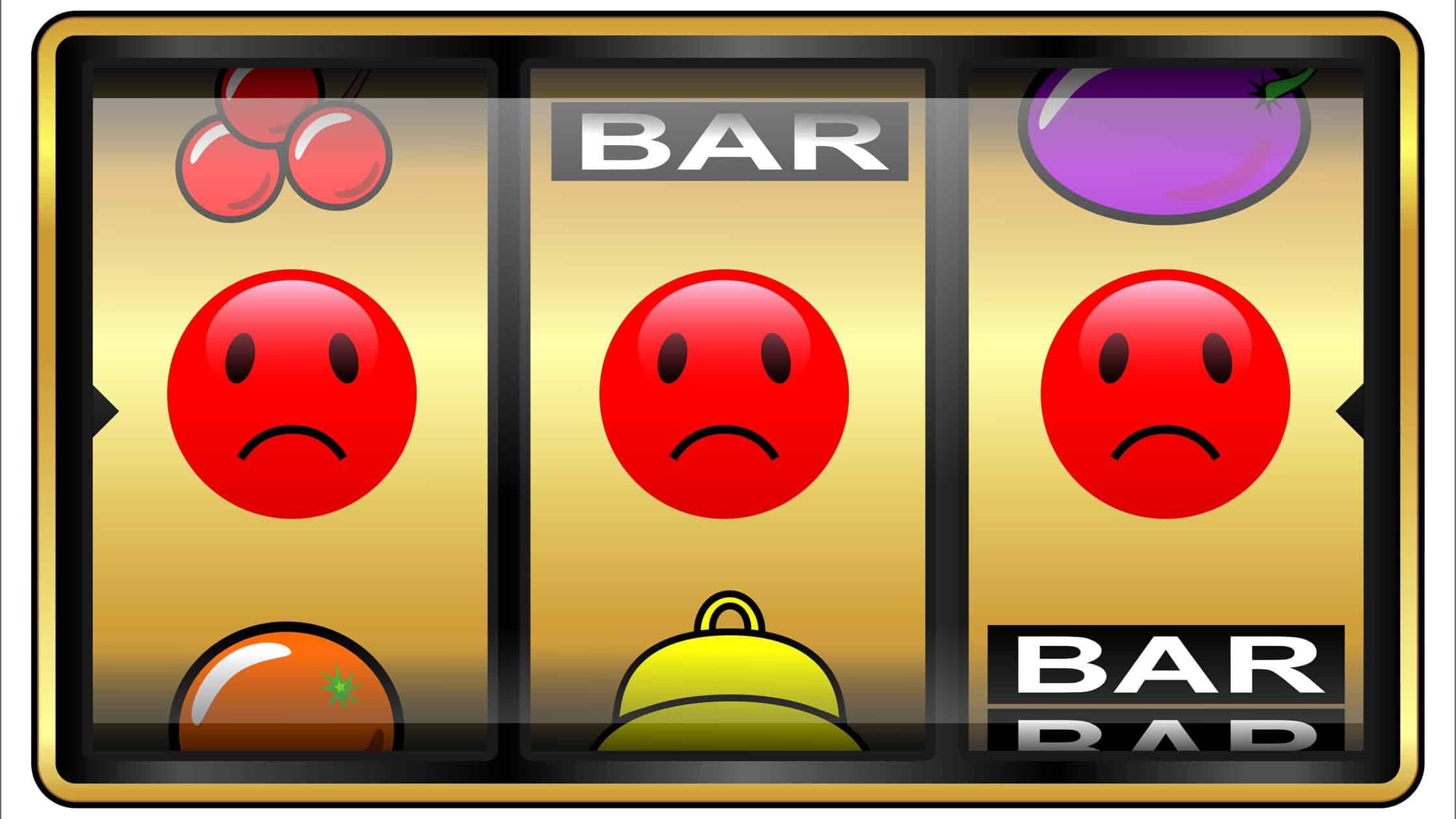 A slot machine with a row of red, sad faces, indicating a drop in the share price for gaming companies