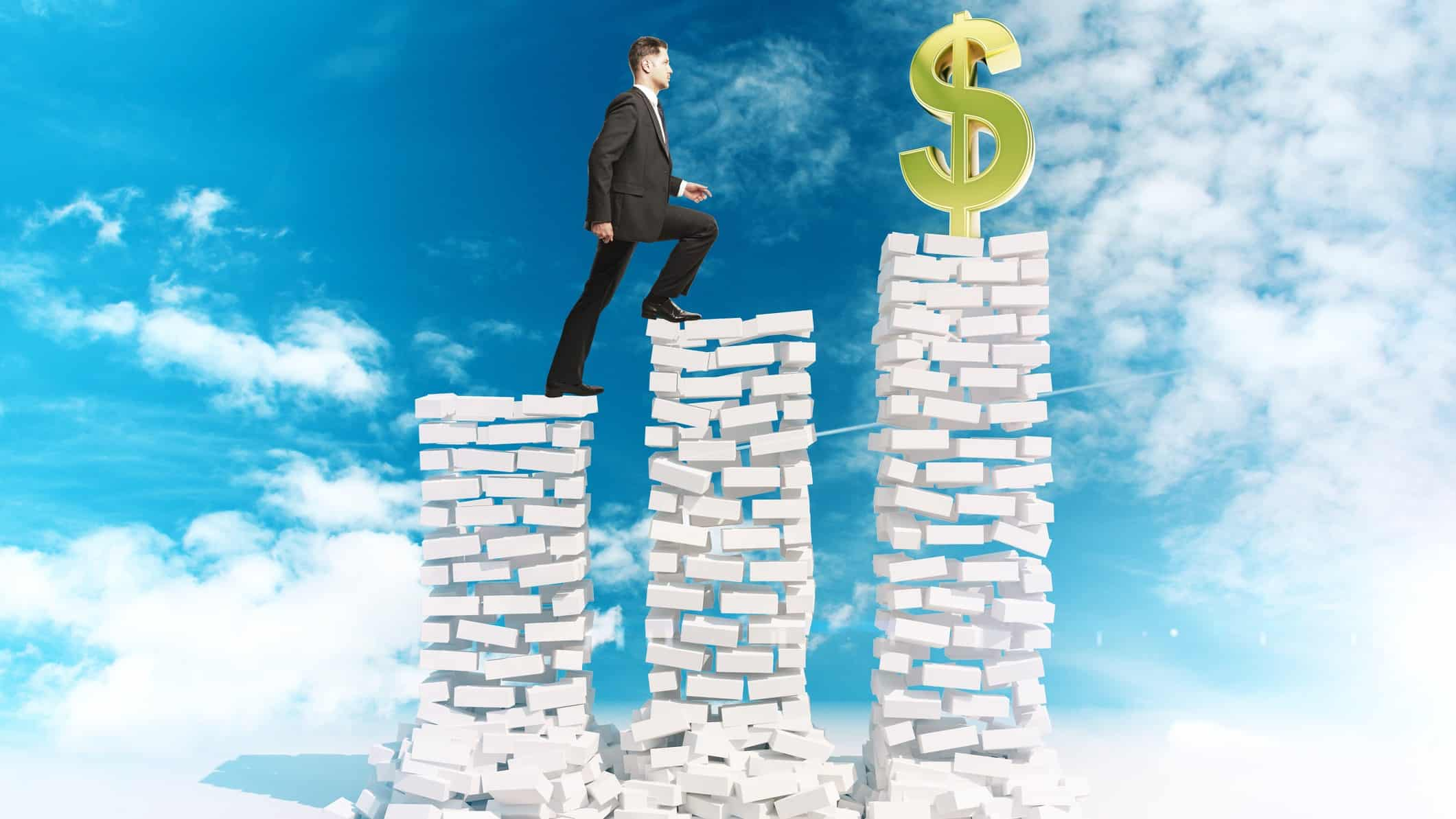 man walking up 3 brick pillars to dollar sign