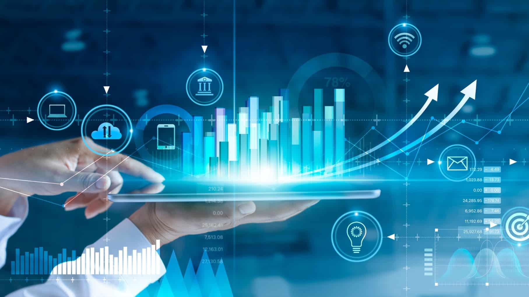 digital screen of bar chart representing asx tech shares