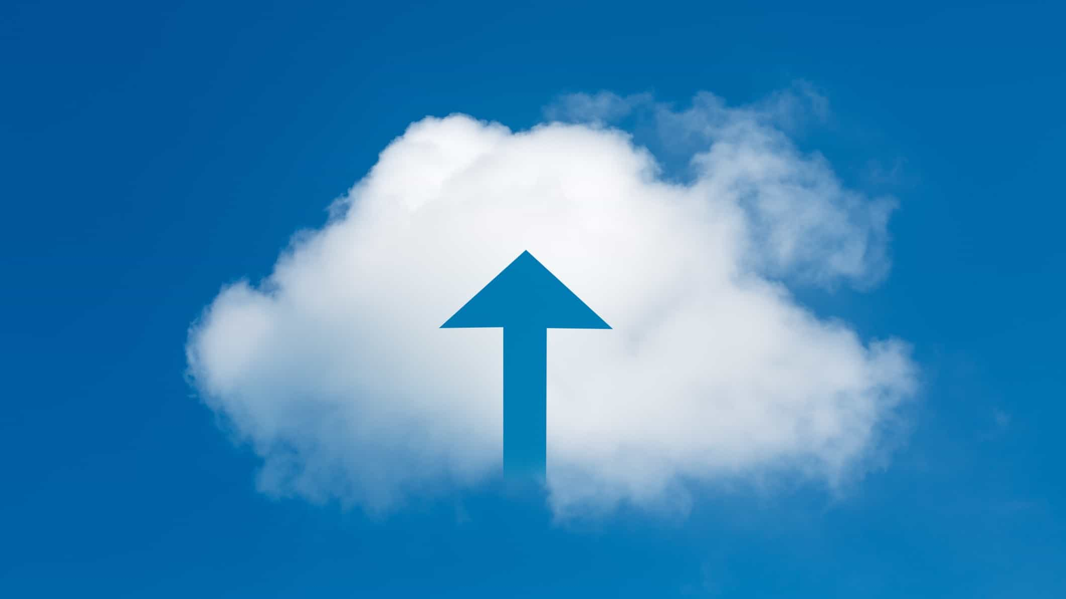 rising tesserent share price represented by a cloud with a blue arrow pointing upwards through its middle