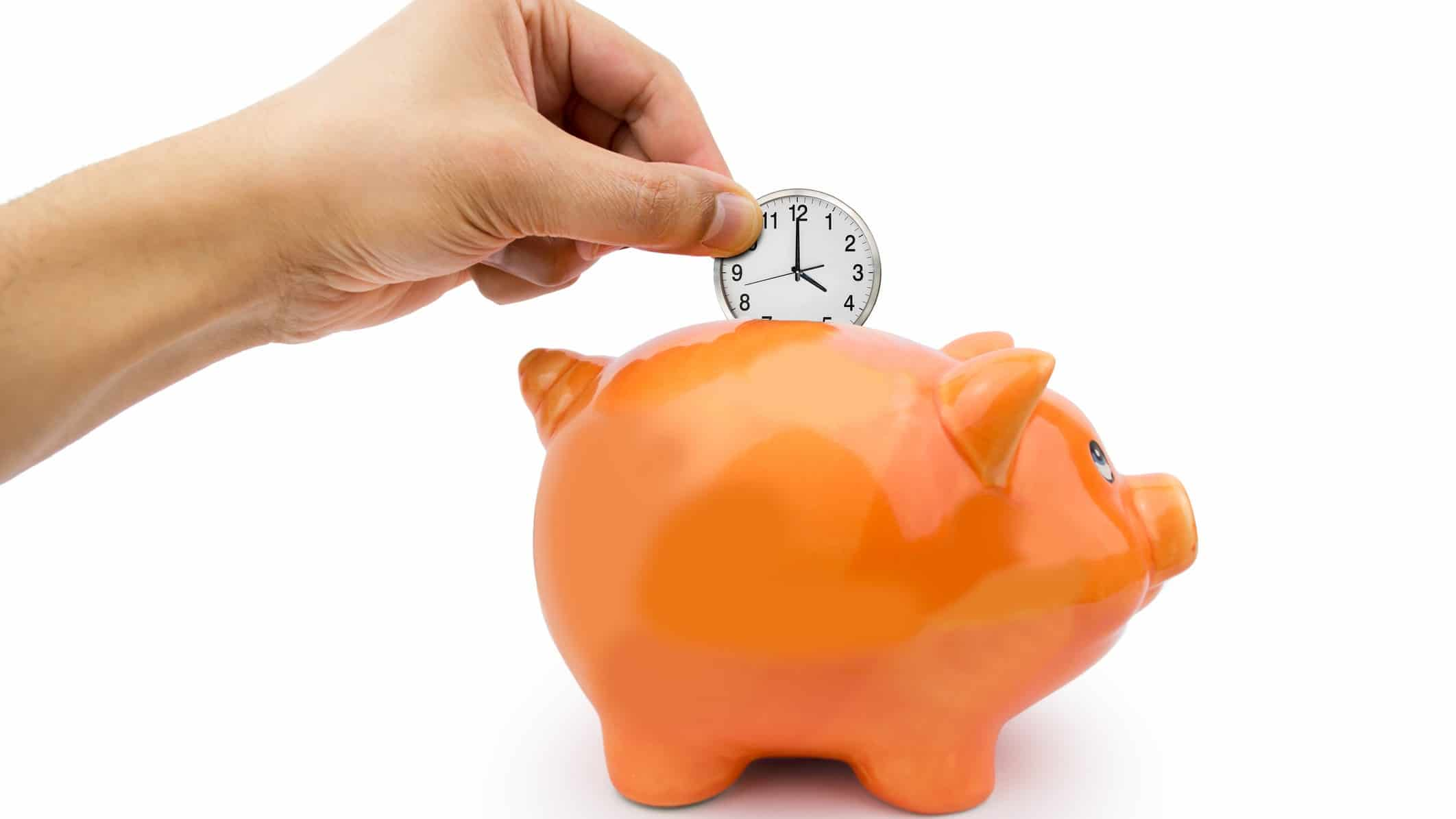 Sydney airport share price represented by hand placing a clock into a piggy bank