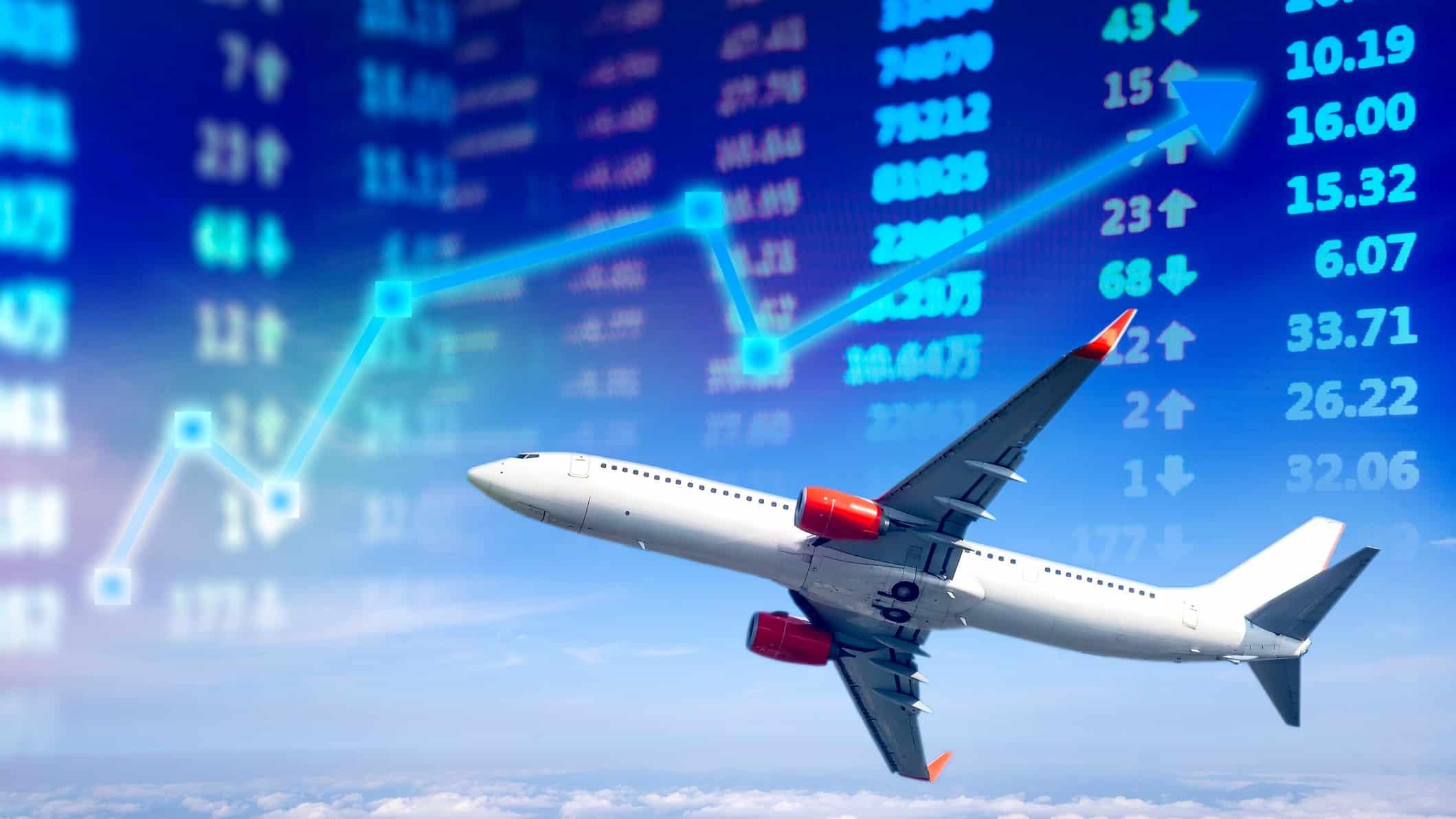 plane flying across share markey graph, asx 200 travel shares, qantas share price