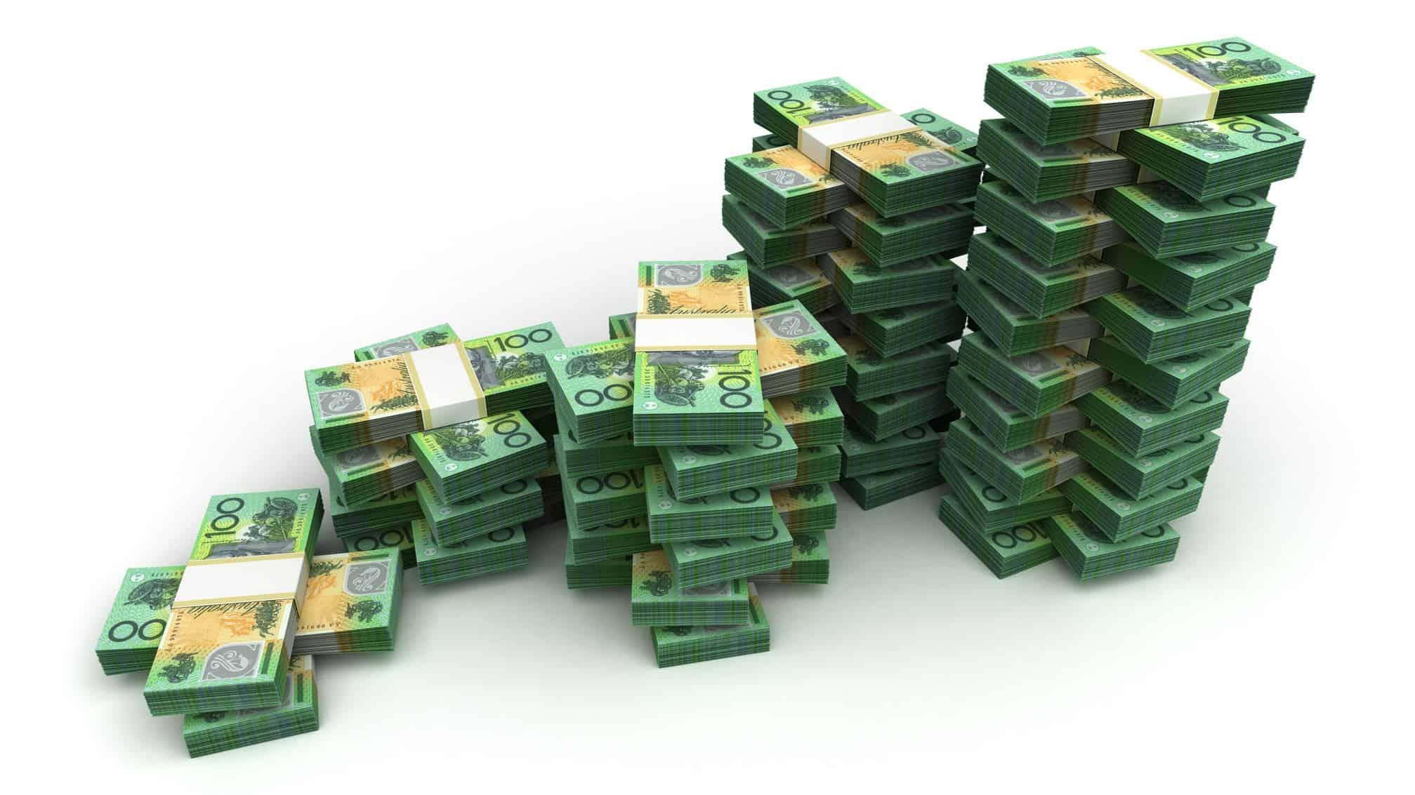 piles of australian $100 notes, wealth, get rich, rich australian