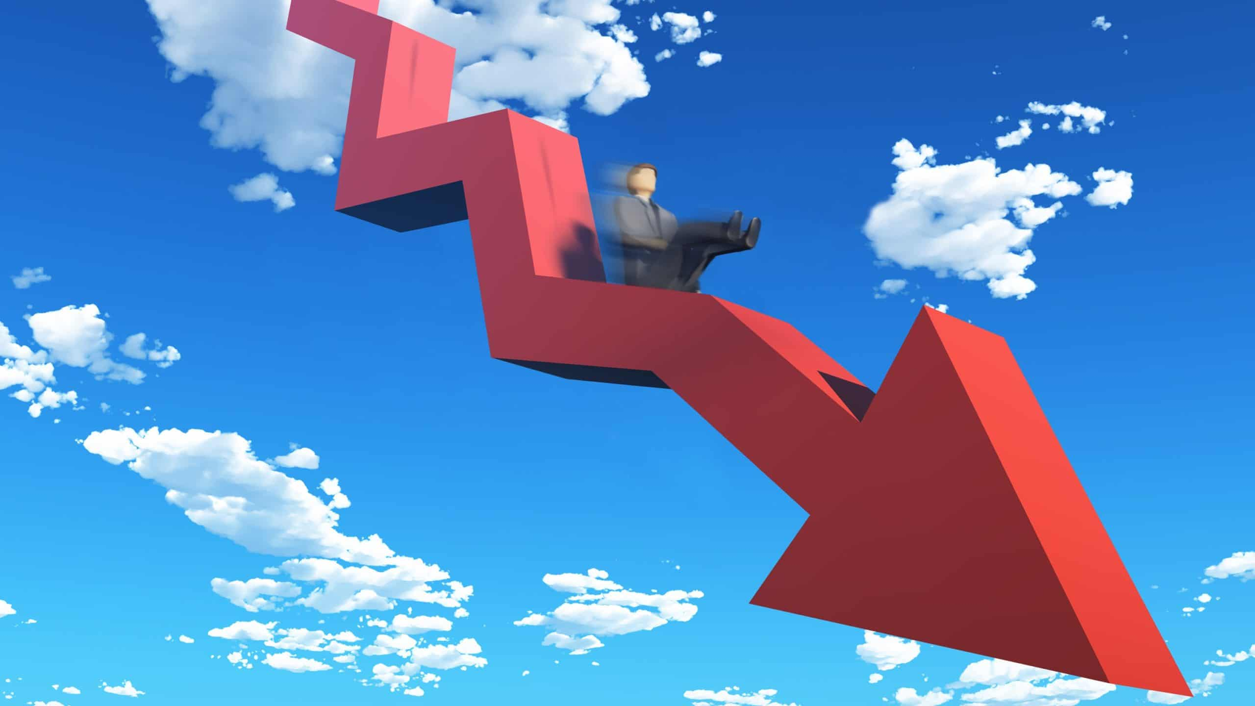 downward red arrow with business man sliding down it signifying falling asx share price