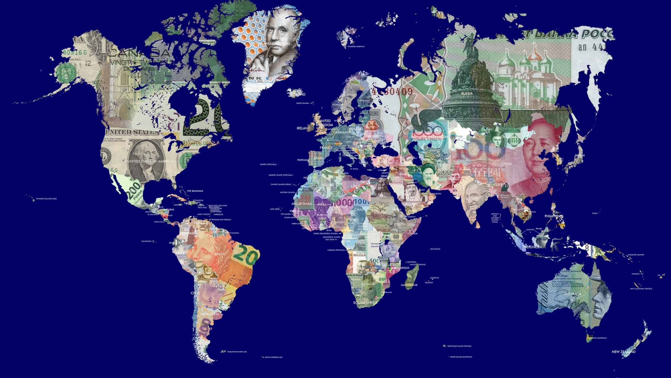 where to invest represented by world map covered in international currencies