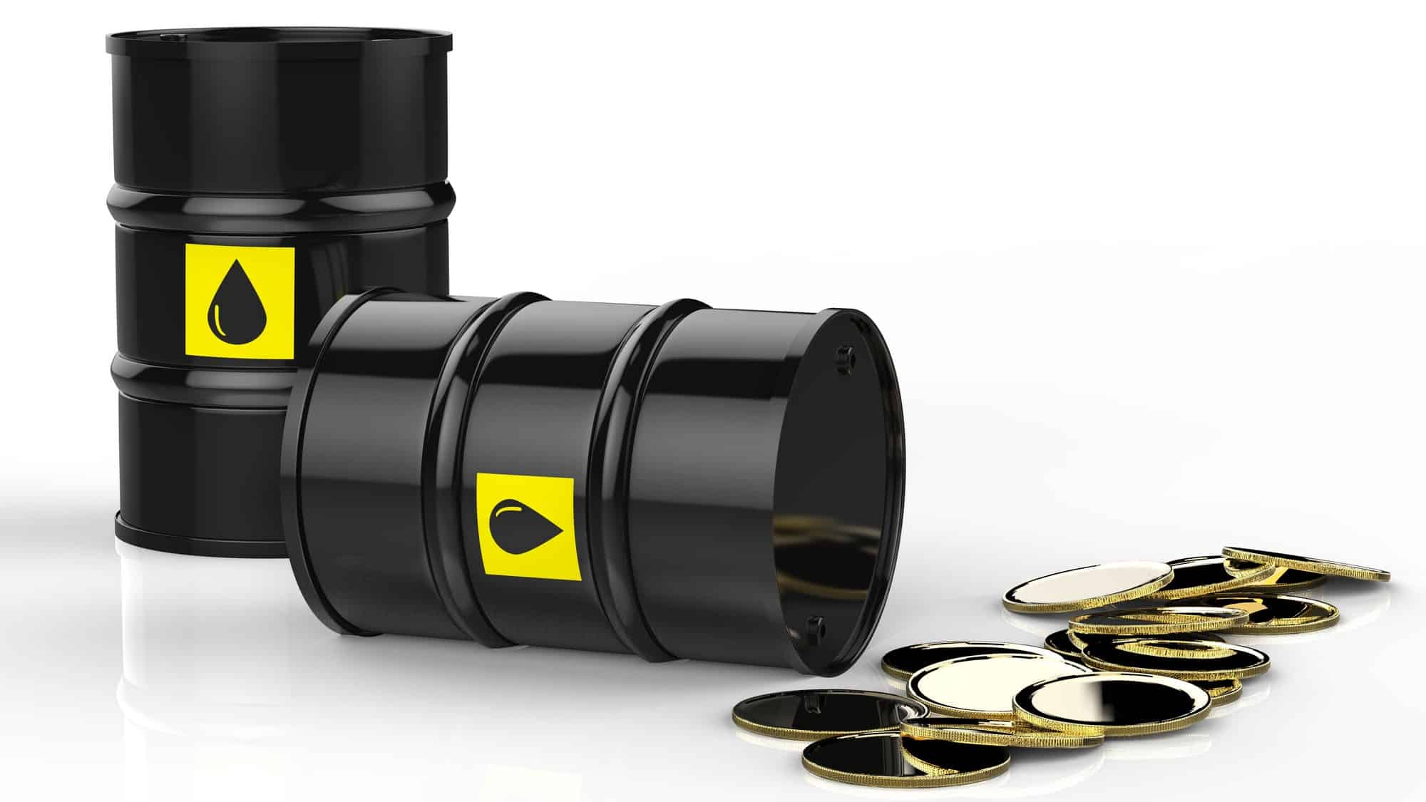 oil can falling over and spilling coins signifying fall in woodside share price