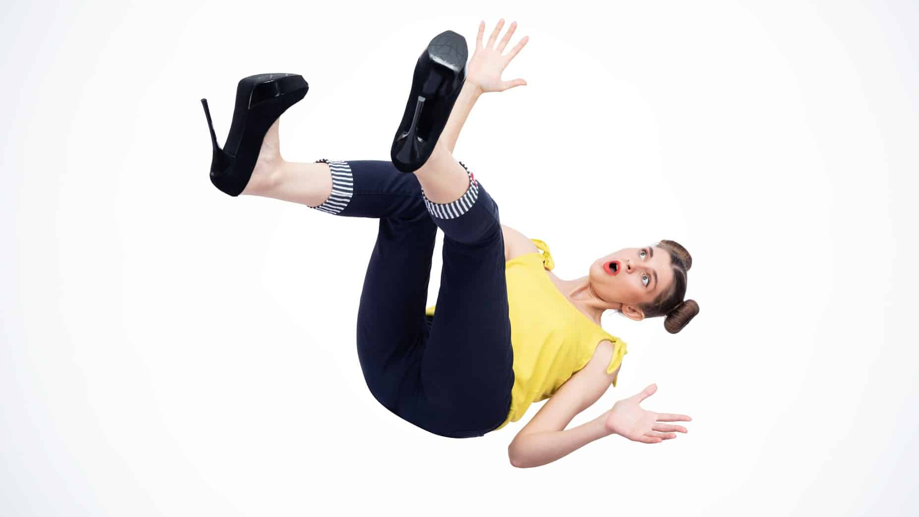 falling asx share price represented by woman falling through mid air