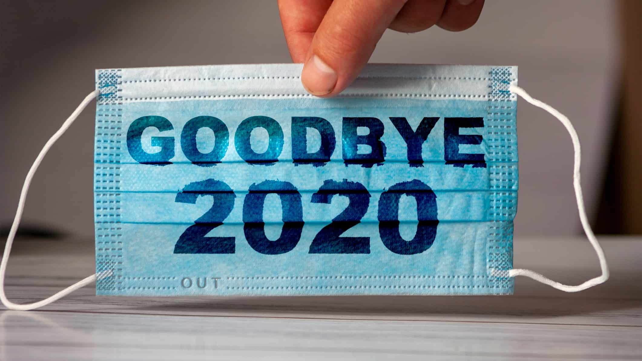 Blue face mask with 'Goodbye 2020' written on it