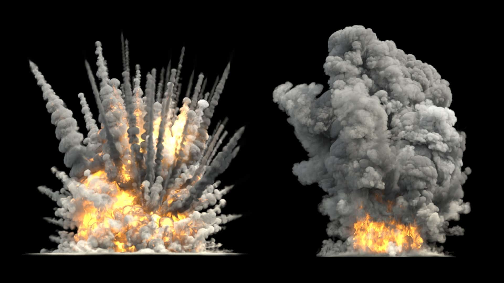 Exploding asx mining share price represented by two bomb blasts on black background