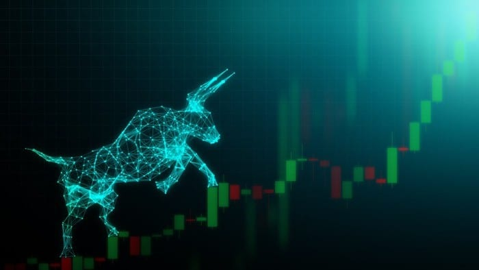 Graphic representation of a bull climbing a stock chart