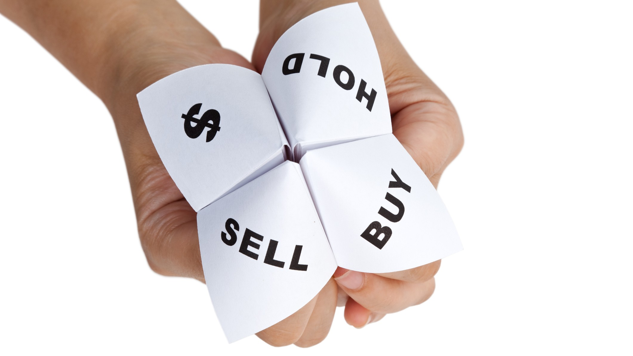 origami paper fortune teller with buy hold sell and dollar sign options