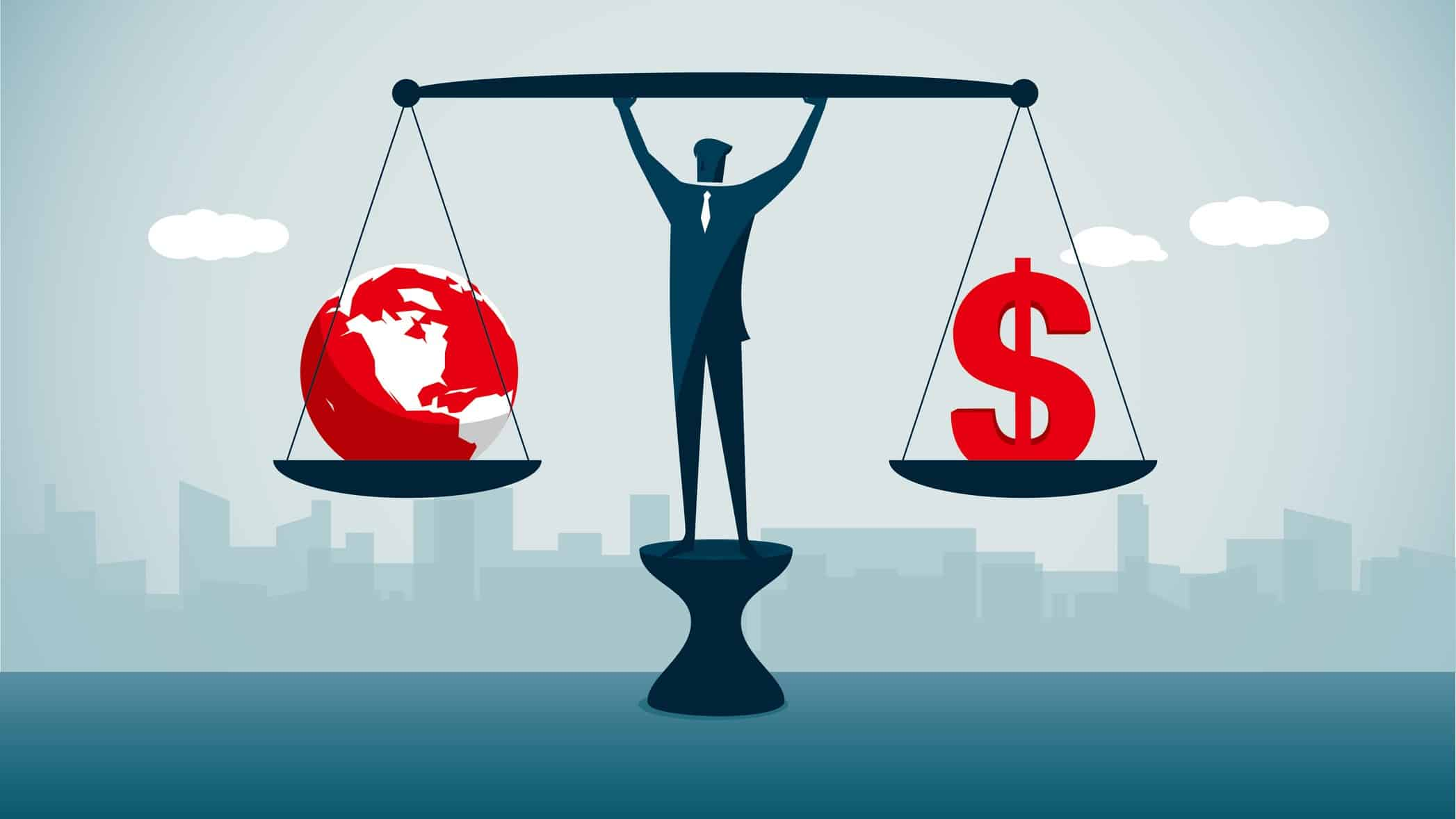 Graphic of suited man balancing scales with a dollar symbol and a world globe