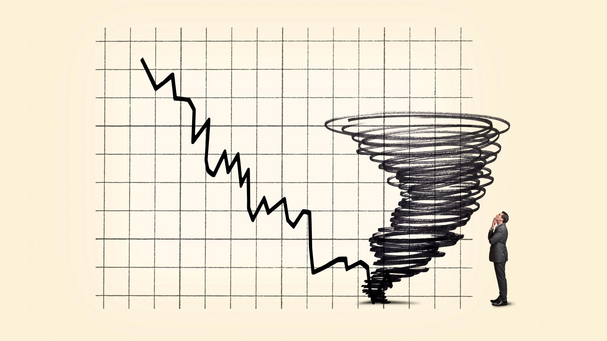 falling graph tornado indicating financial volatility